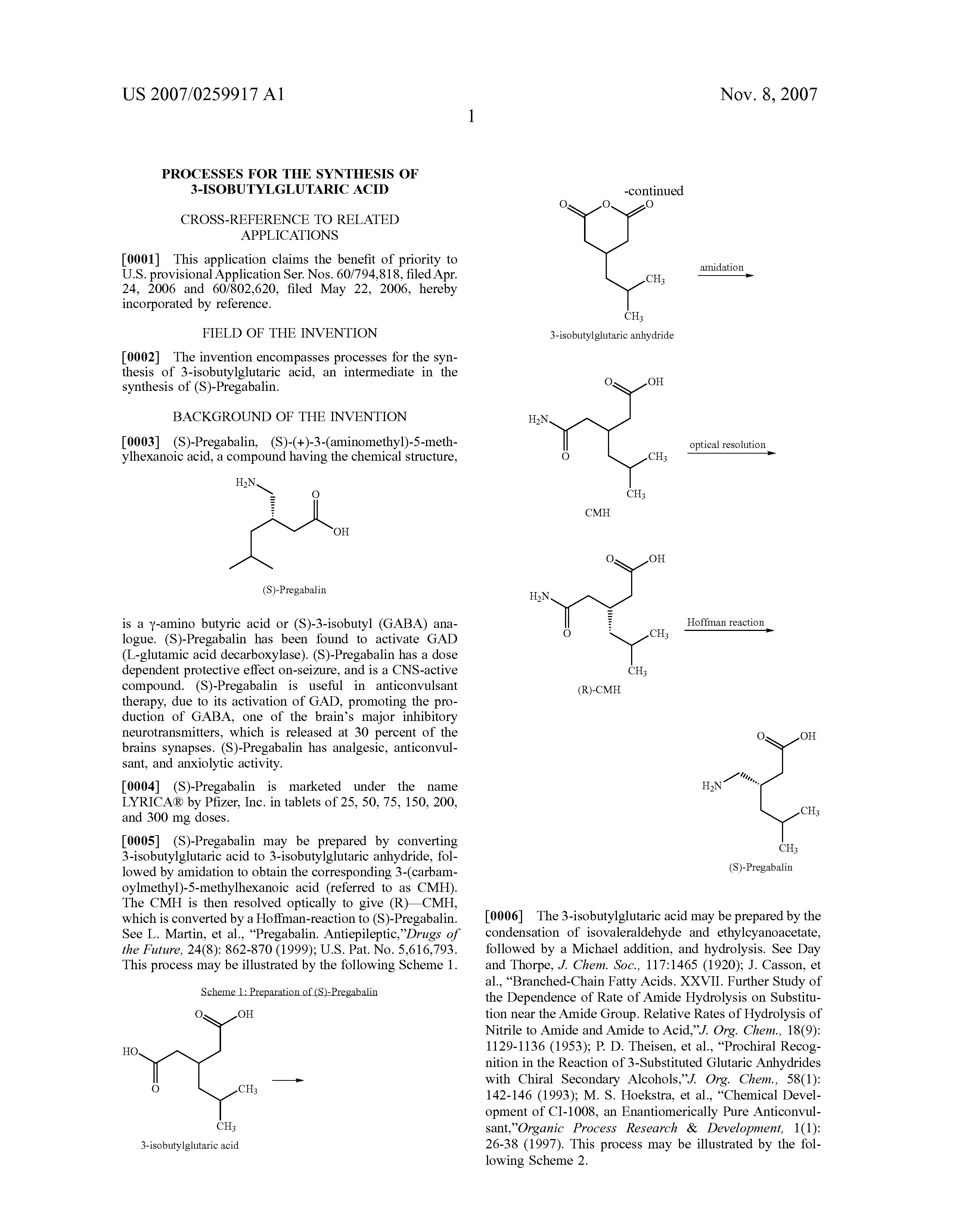 process synthesis pregabalin lyrica