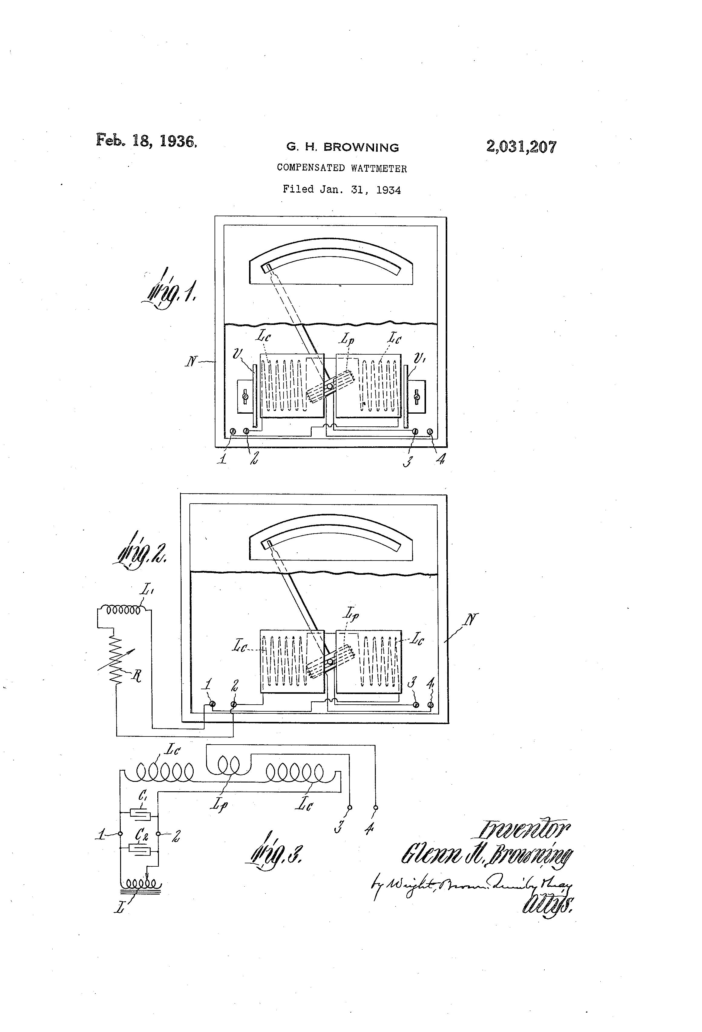 Patent US2031207 - Compensated wattmeter - Google Patents