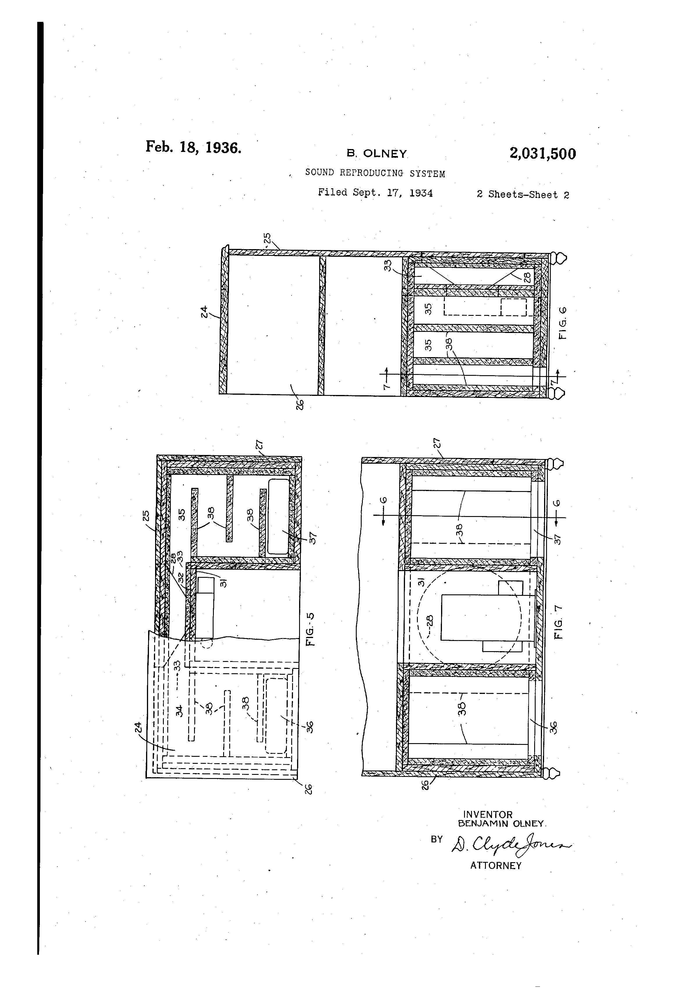 patent us2031500 - sound reproducing system