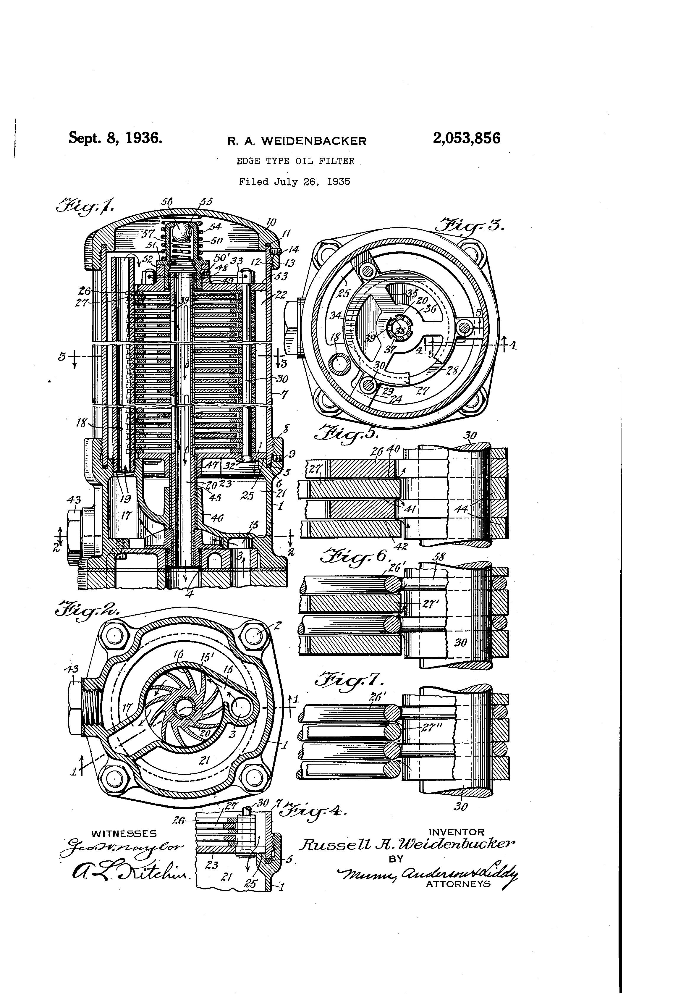 patent us2053856 - edge type oil filter