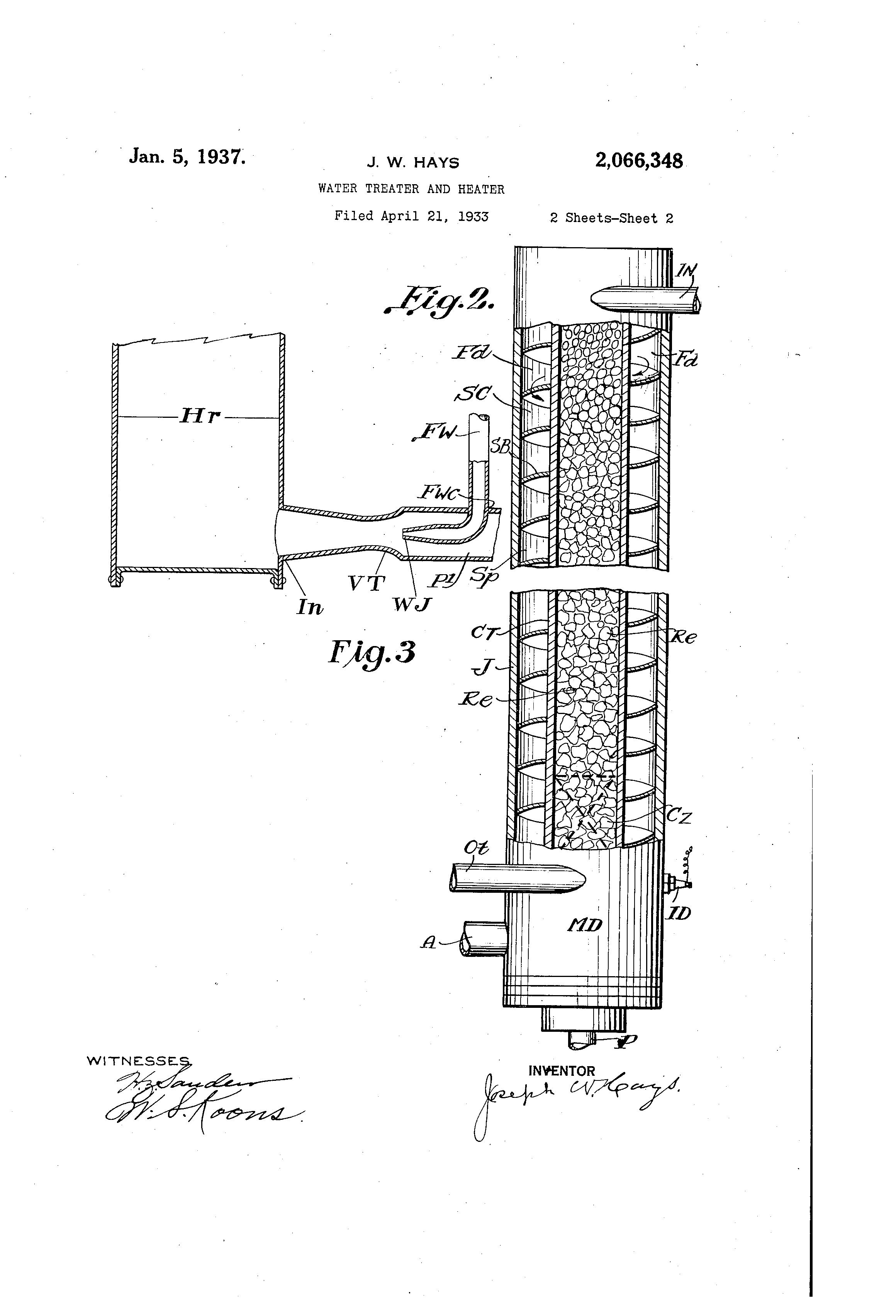 patent us2066348 - water treater and heater