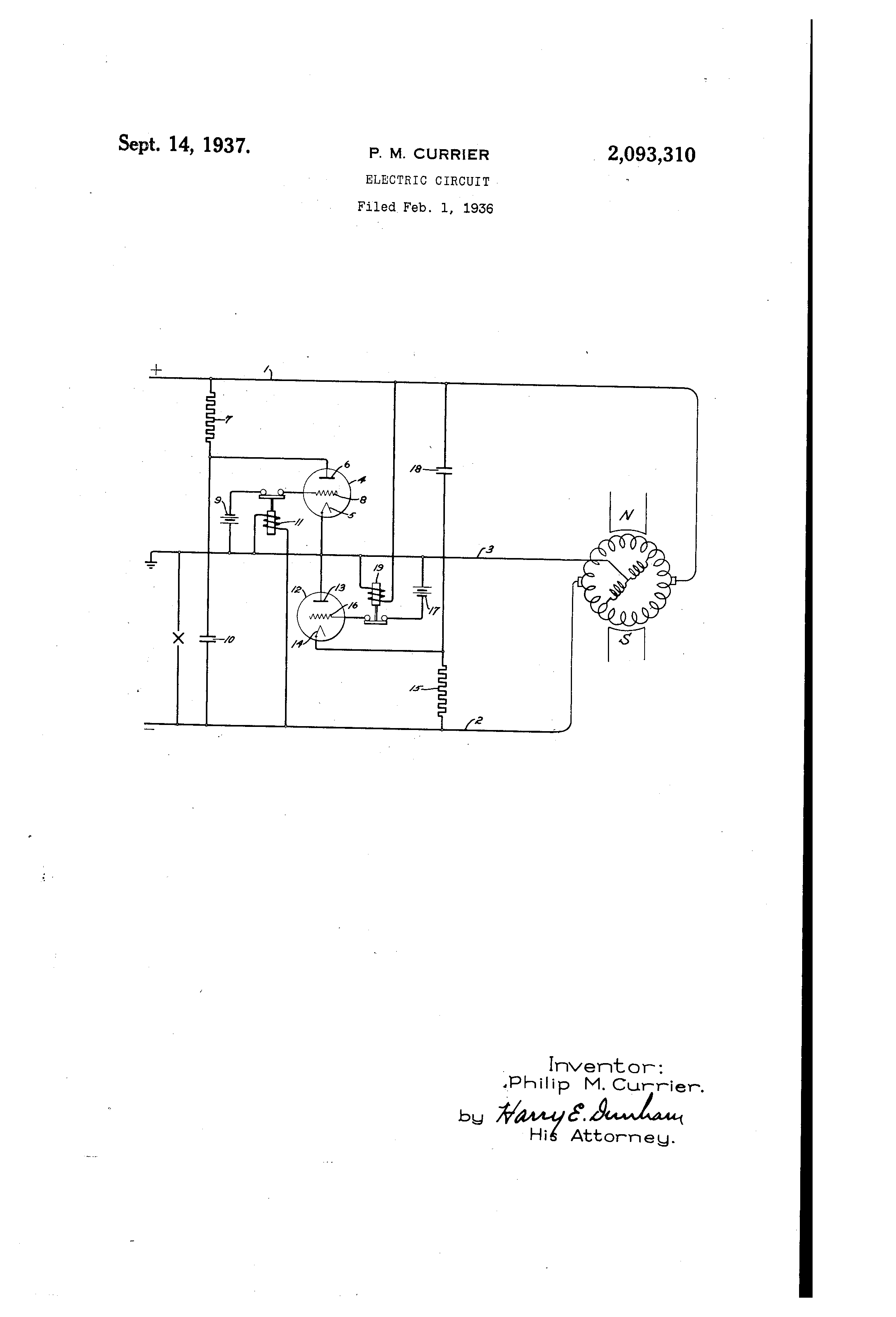 Patent US2093310 - Electric circuit - Google Patents