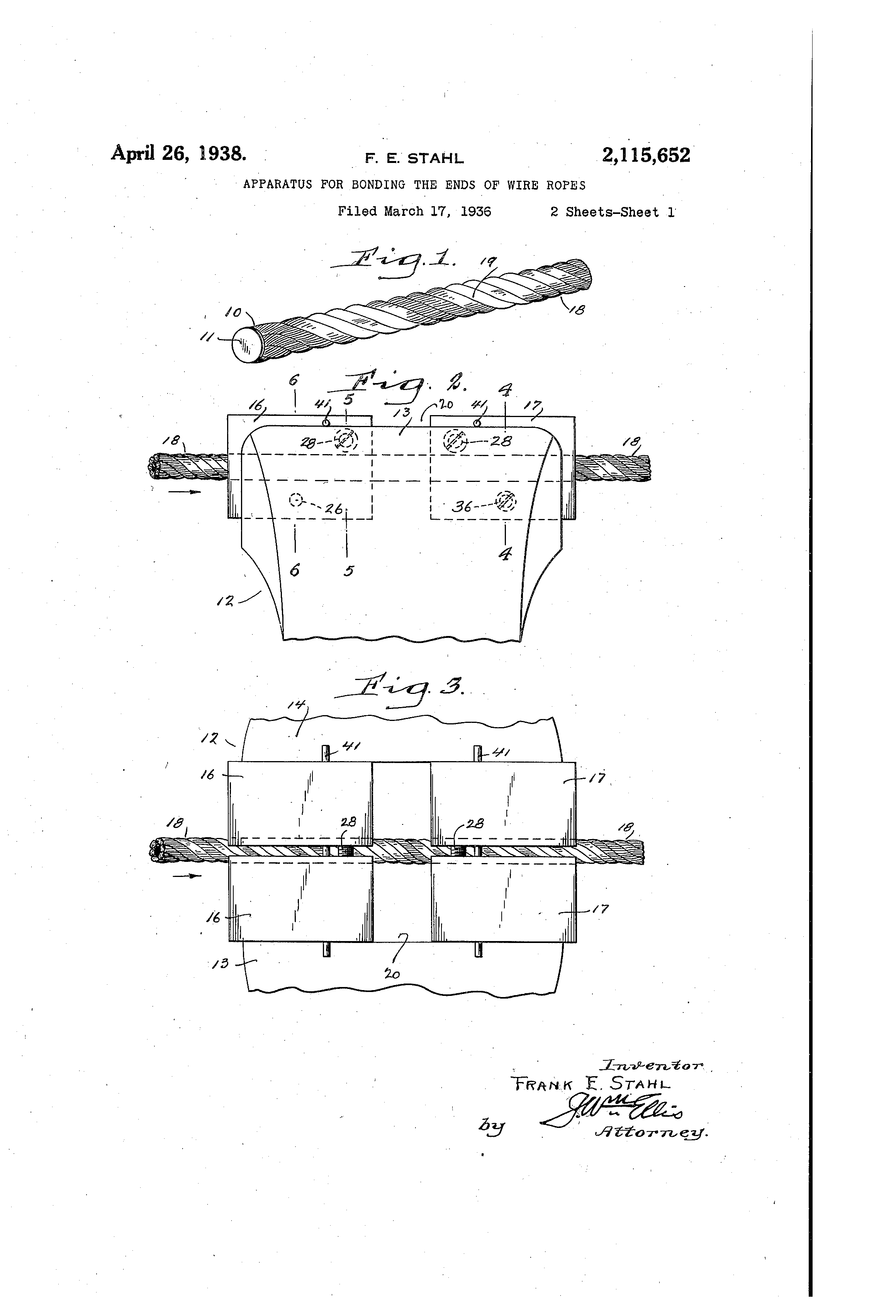 Patent US2115652 - Apparatus for bonding the ends of wire ropes ...