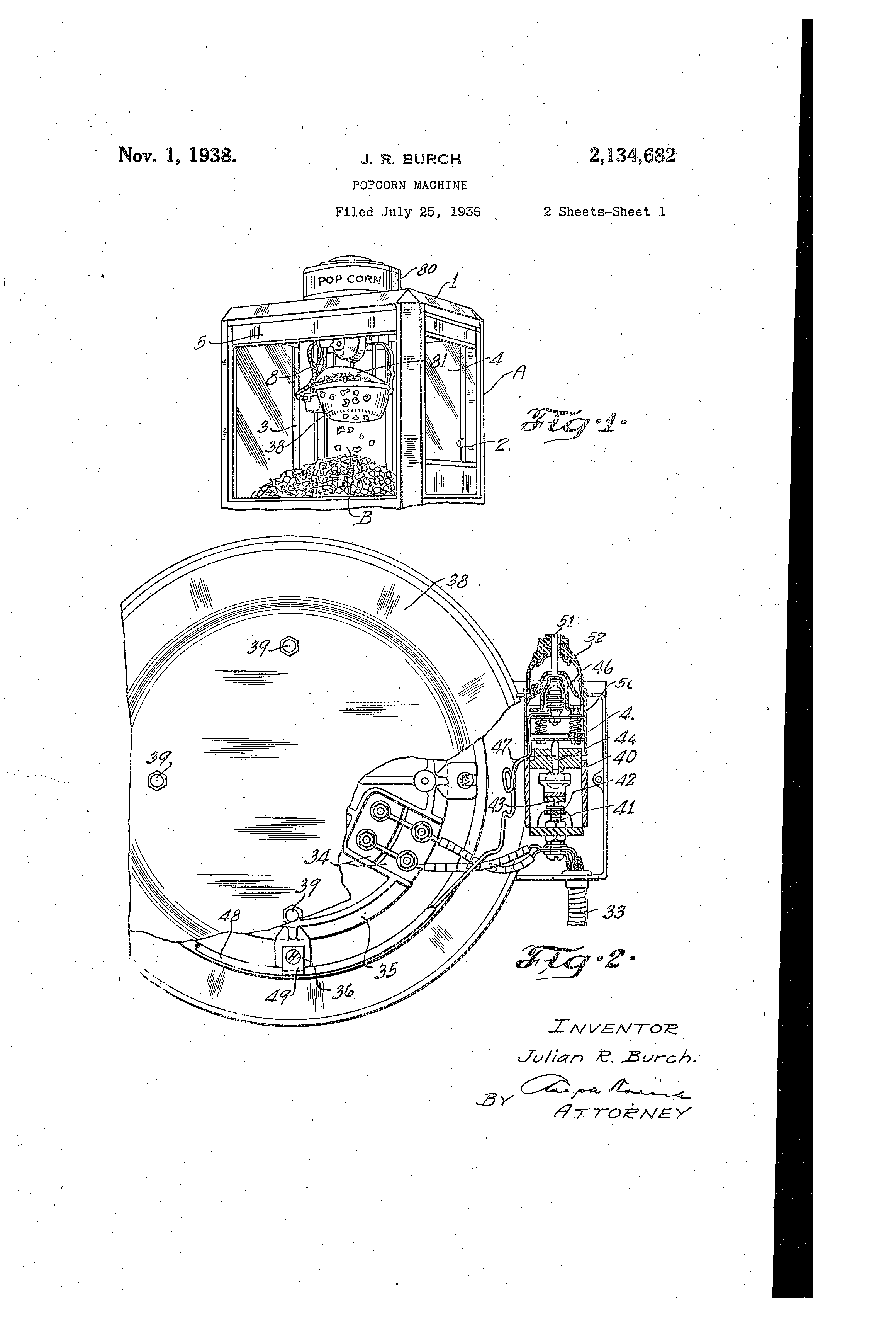 patent us2134682 popcorn machine patents