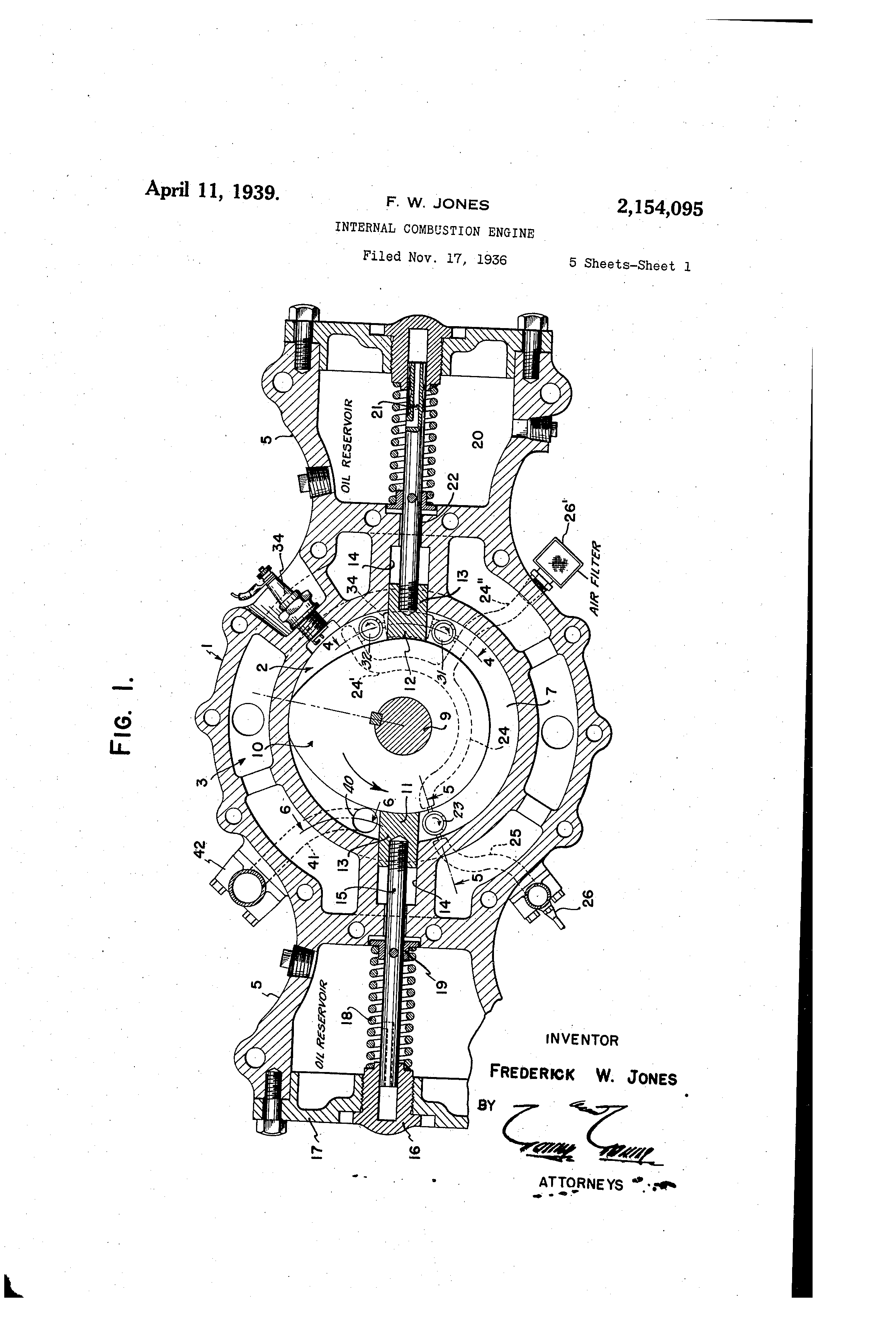Patent Us2154095 Internal Combustion Engine Google Patents Illustrated Diagram Of A Basic Drawing