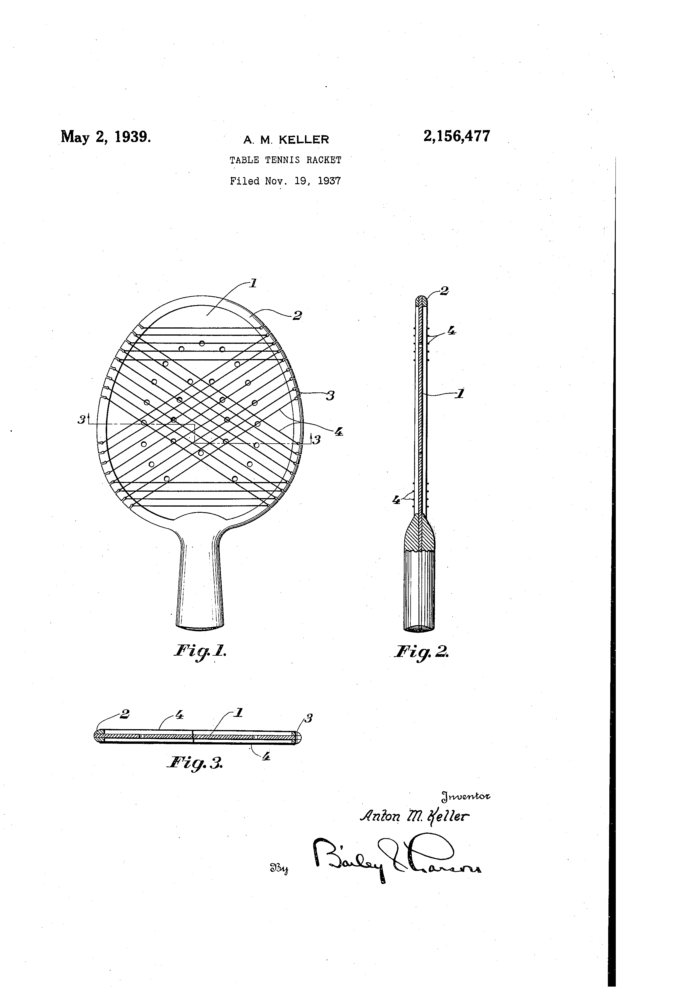 Patent Us2156477 Table Tennis Racket Google Patents