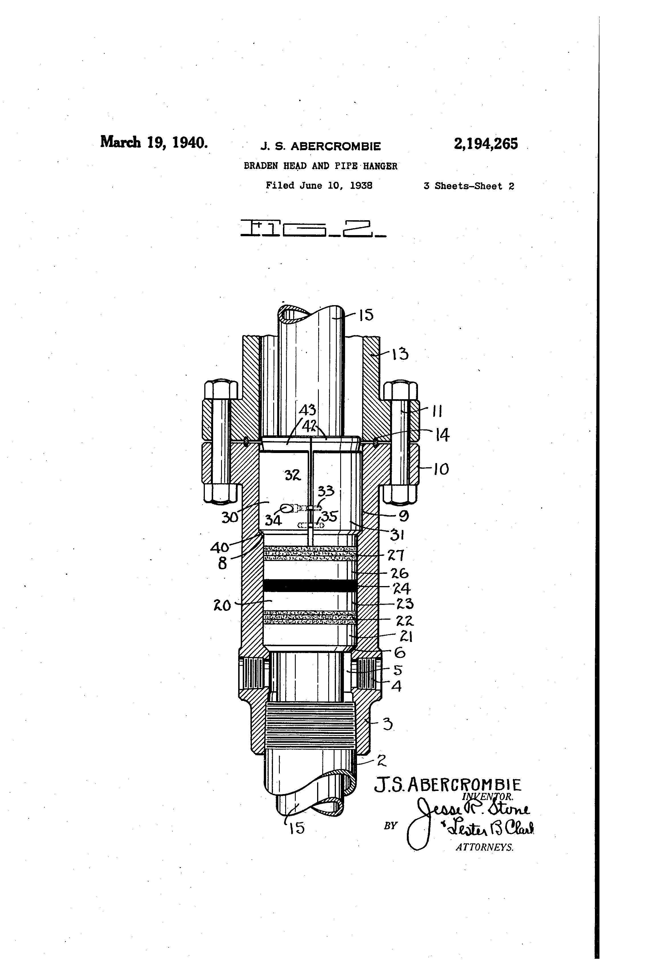 patent us2194265 - braden head and pipe hanger