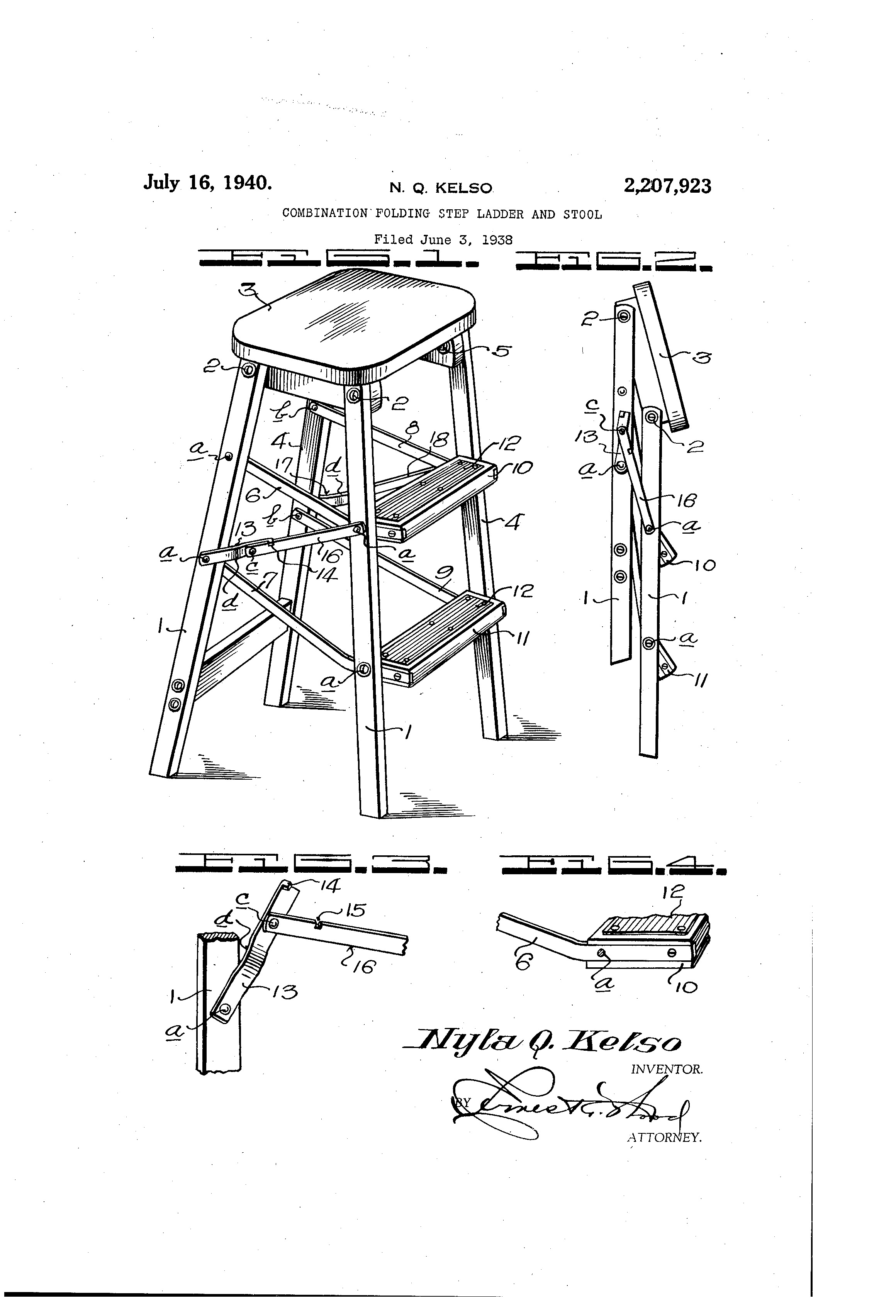 Patent Us2207923 Combination Folding Step Ladder And