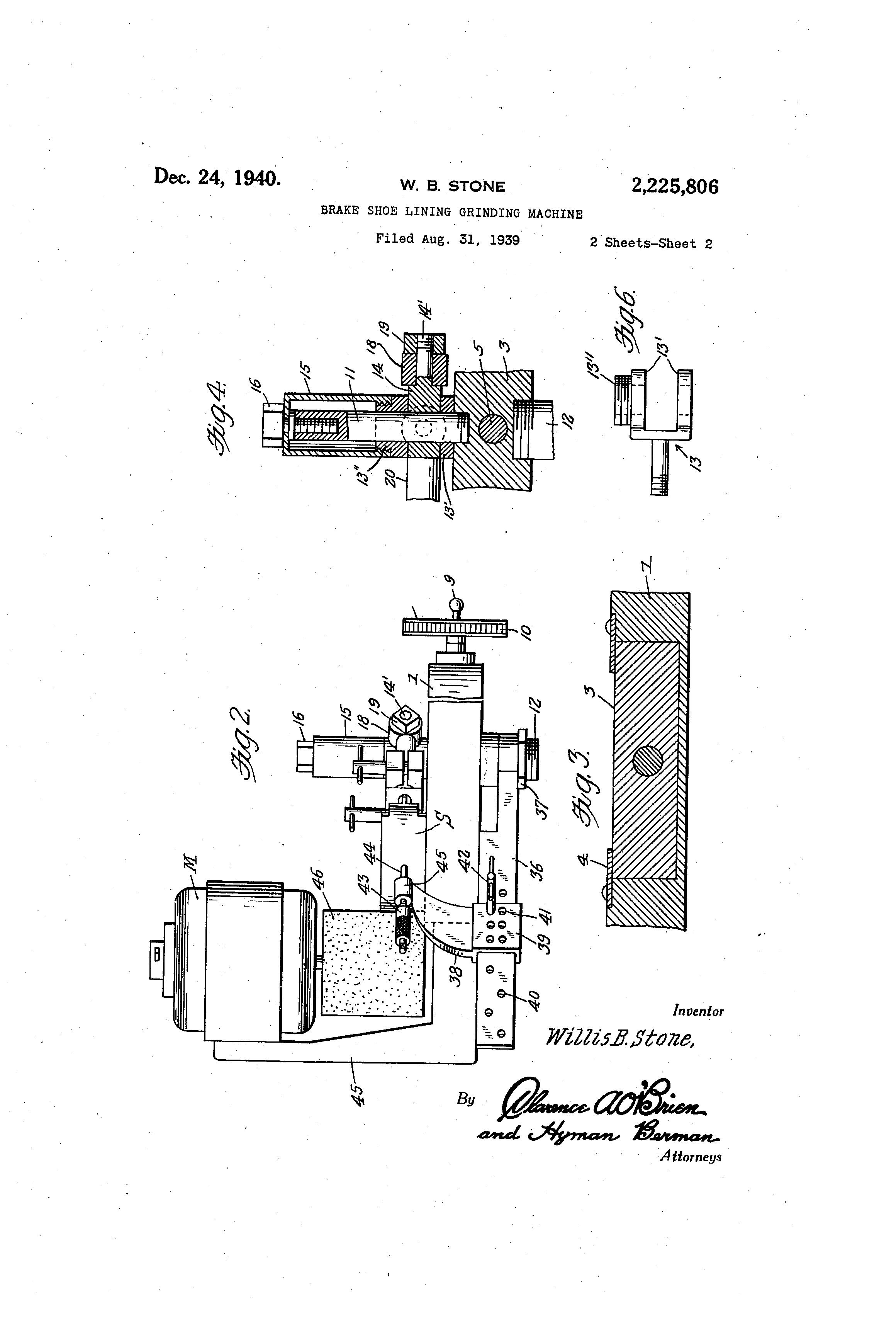 Brake Lining Draw : Patent us brake shoe lining grinding machine