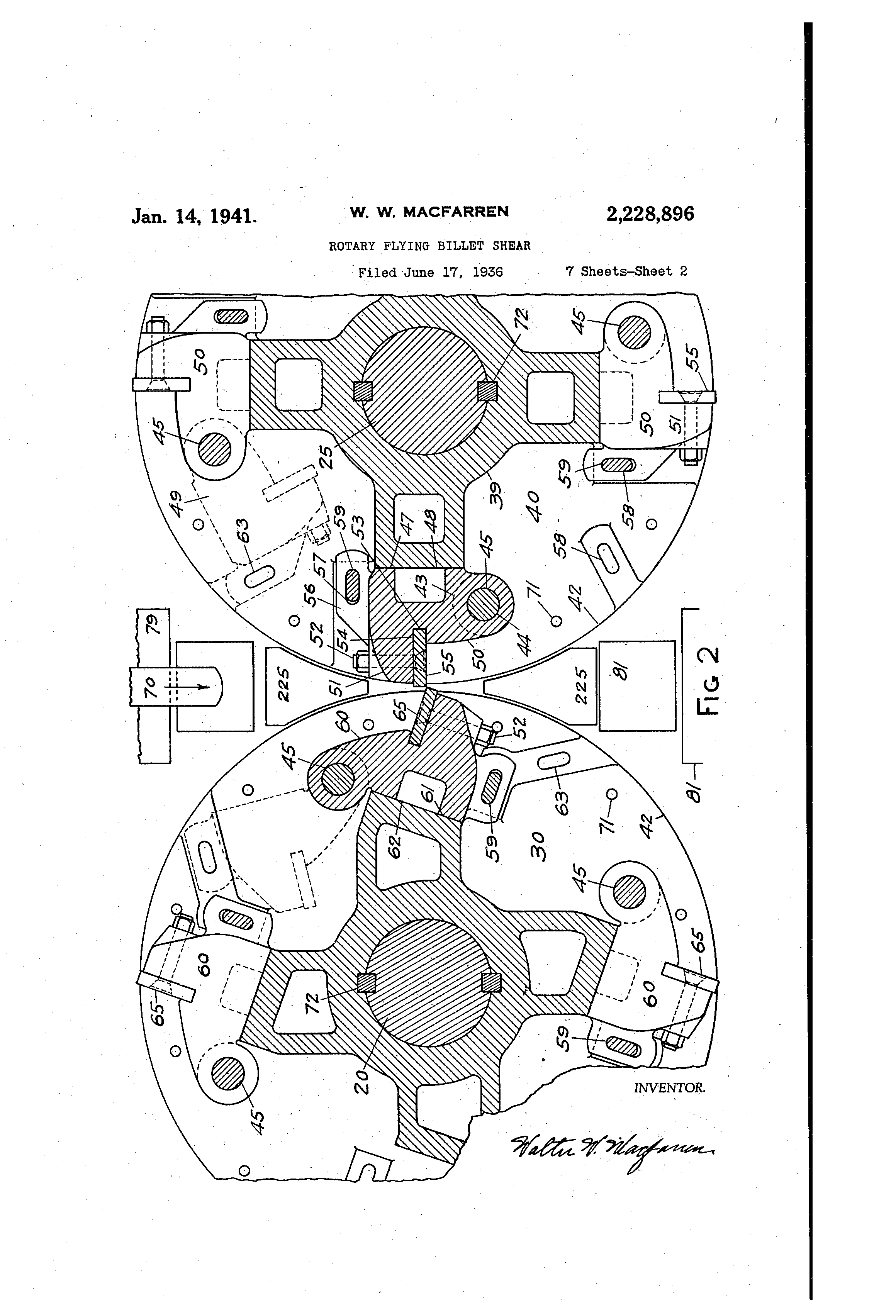 Patent Us2228896 Rotary Flying Billet Shear Google Patents 1994 Jaguar X Type Fuse Box Diagram Drawing