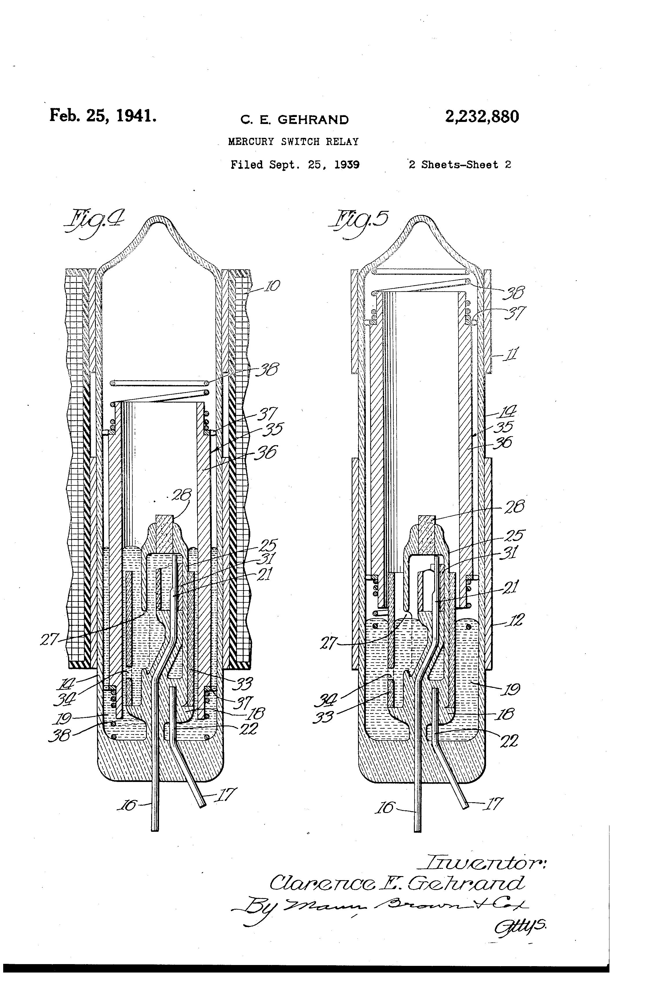 Patent Us2232880 Mercury Switch Relay Google Patents Drawing