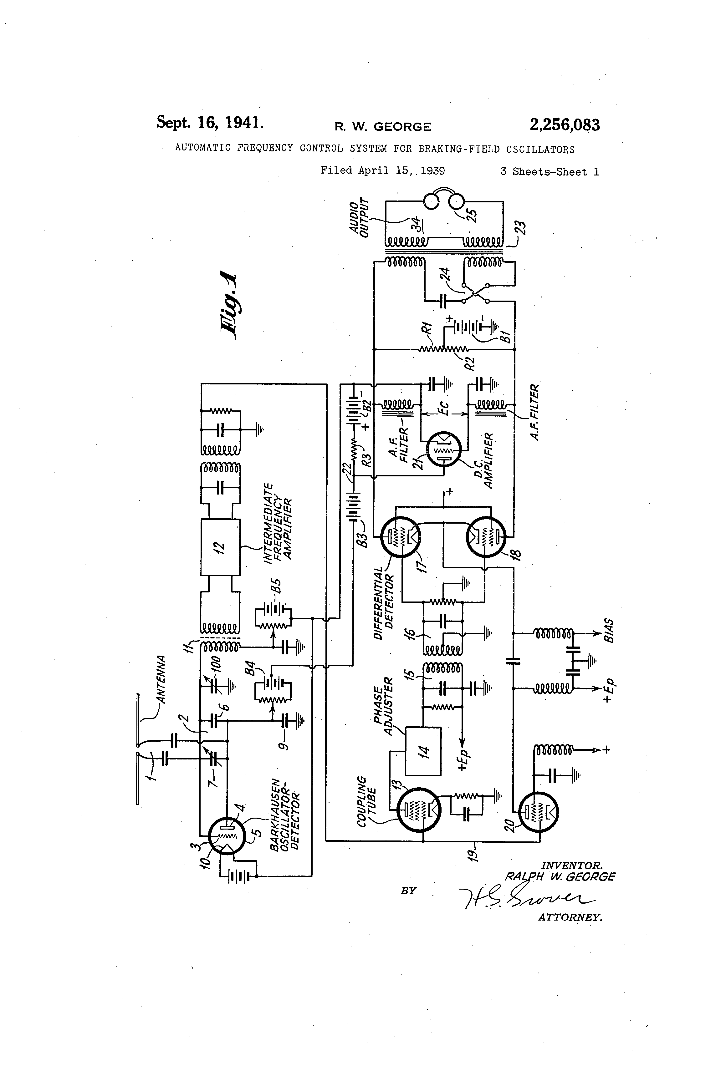 Patent Us2256083 Automatic Frequency Control System For Braking Crystal Stabilization Of Modulation Circuit Is Drawing