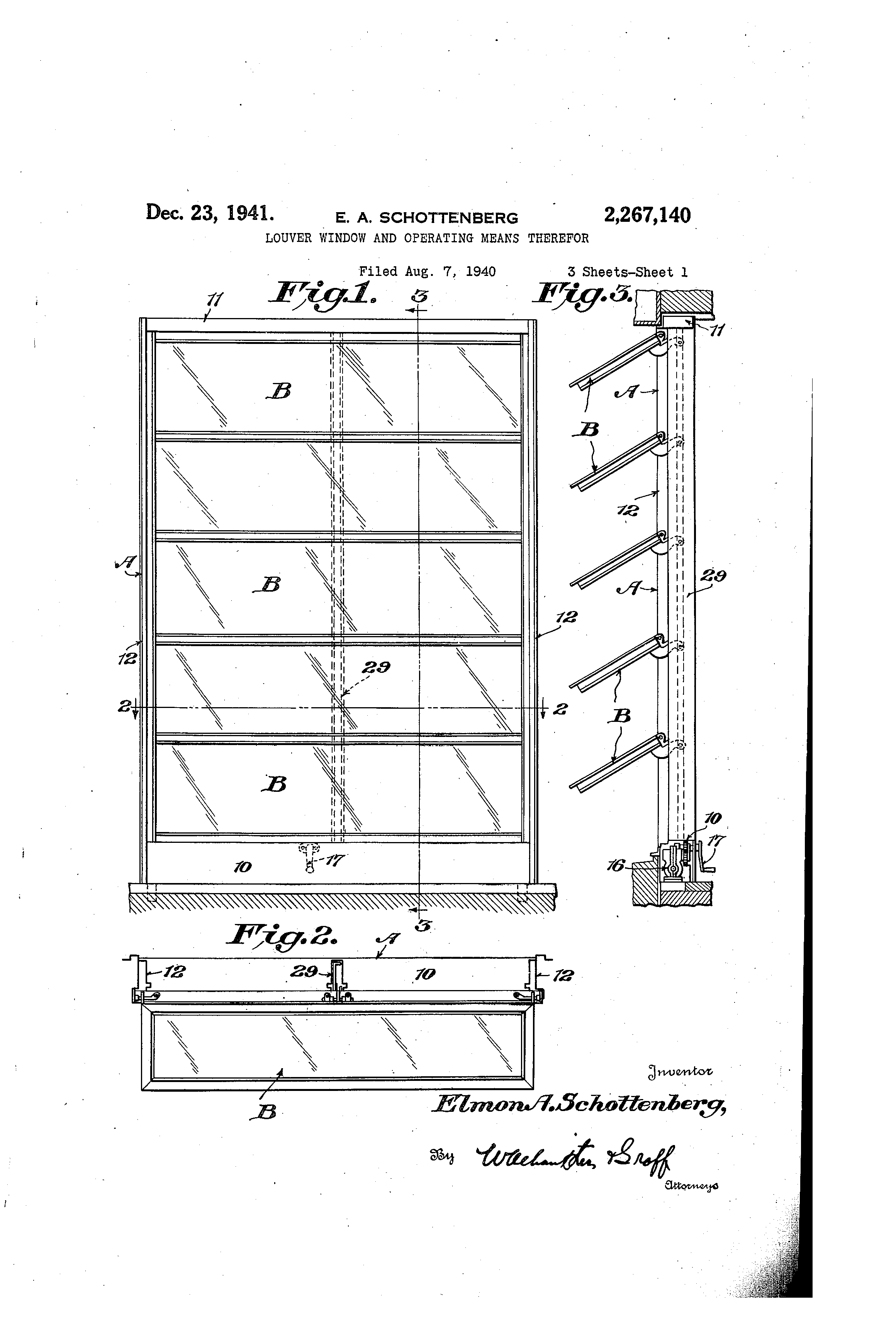 Patent Us2267140 Louver Window And Operating Means