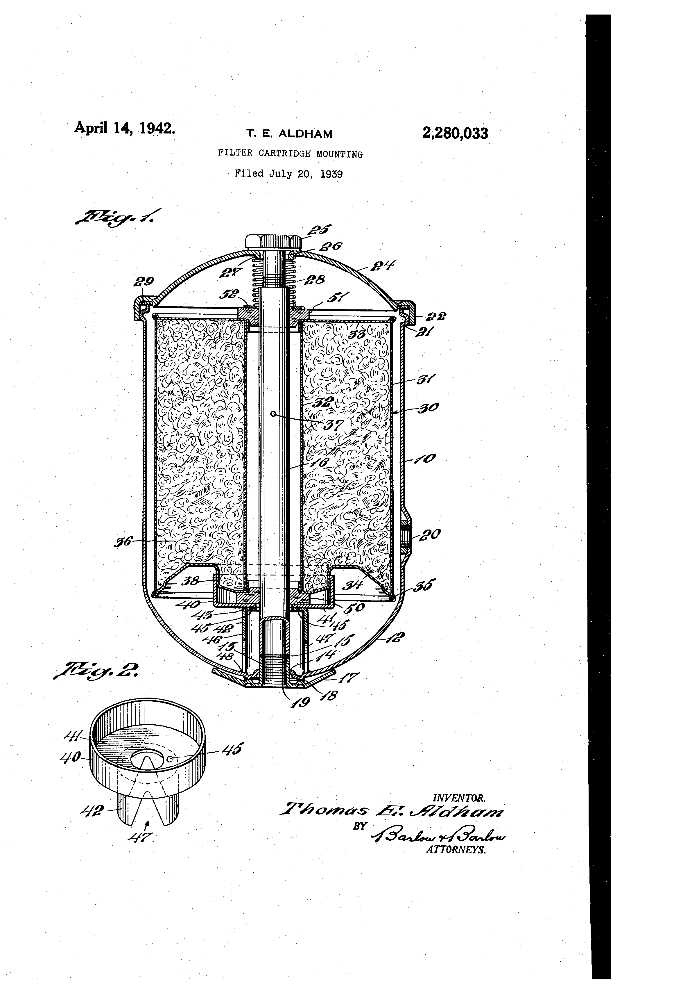 patent us2280033 - filter cartridge mounting
