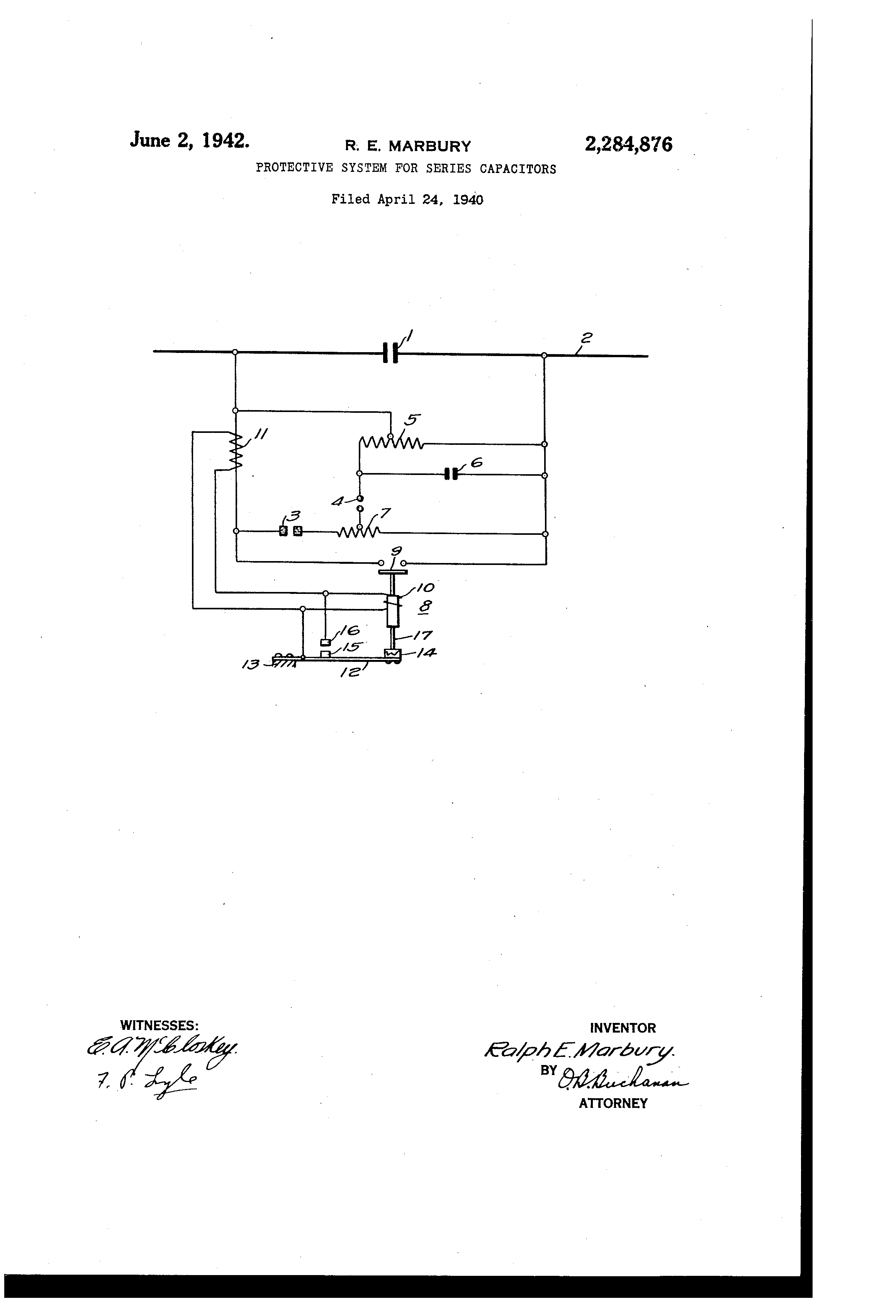 Patent Us2284876 Protective System For Series Capacitors Google Show The Schematic Diagram Of Capacitor And Shunt Drawing