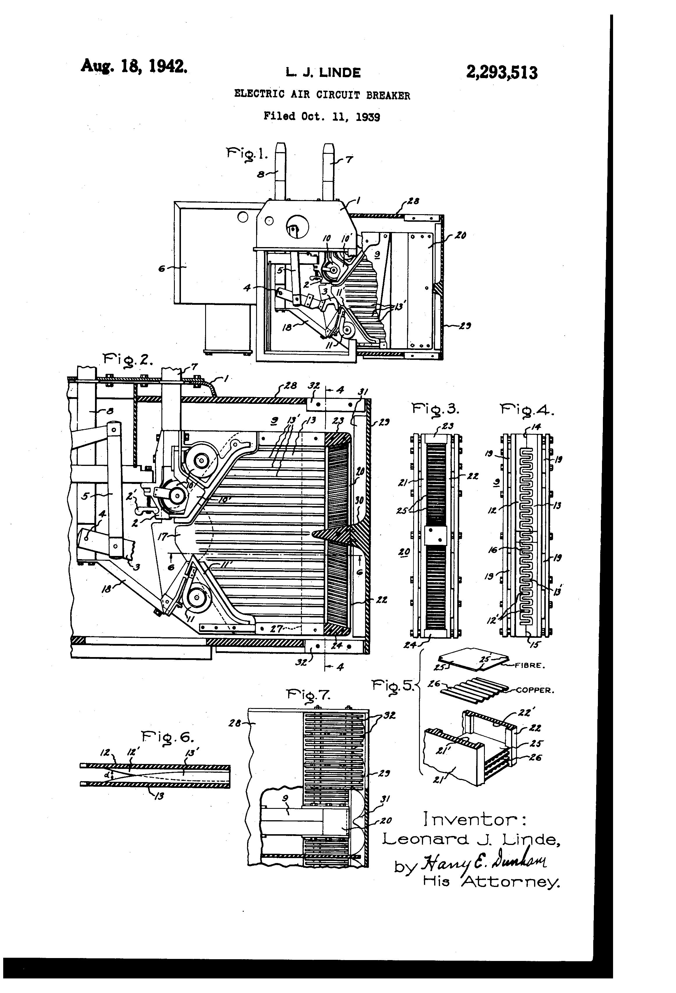 Patent US2293513 - Electric air circuit breaker - Google Patents