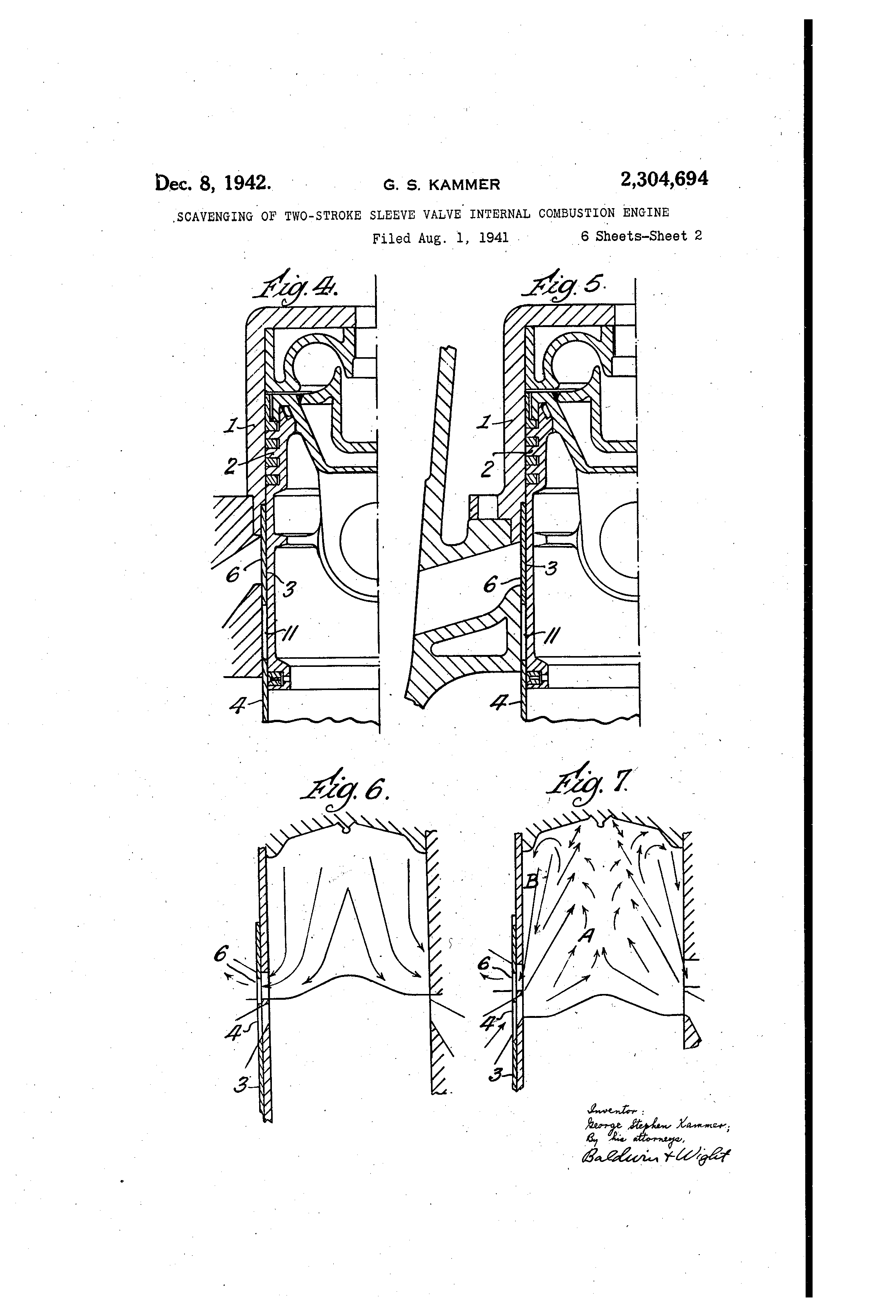 Patent Us2304694 Scavenging Of Two Stroke Sleeve Valve Internal Illustrated Diagram A Basic Combustion Engine Drawing