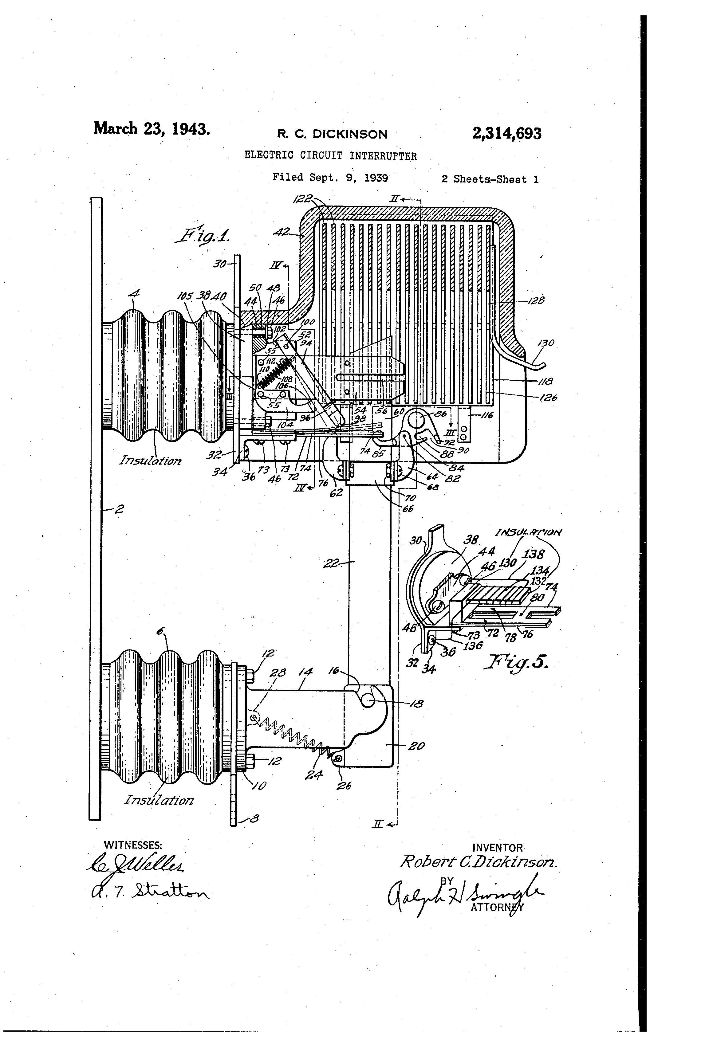 Patent US2314693 - Electric circuit interrupter - Google Patents