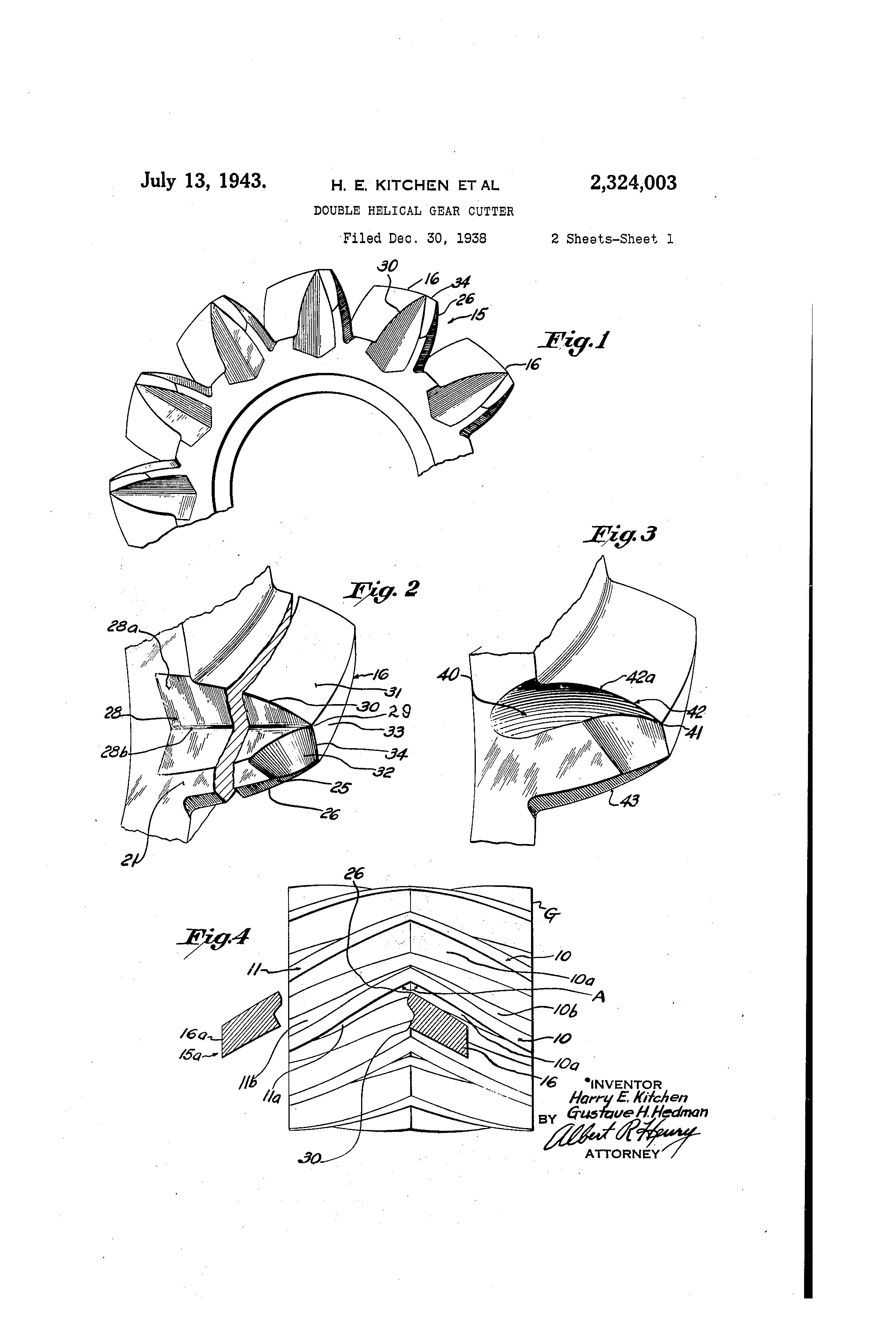 Patent Us2324003 Double Helical Gear Cutter Google Patents