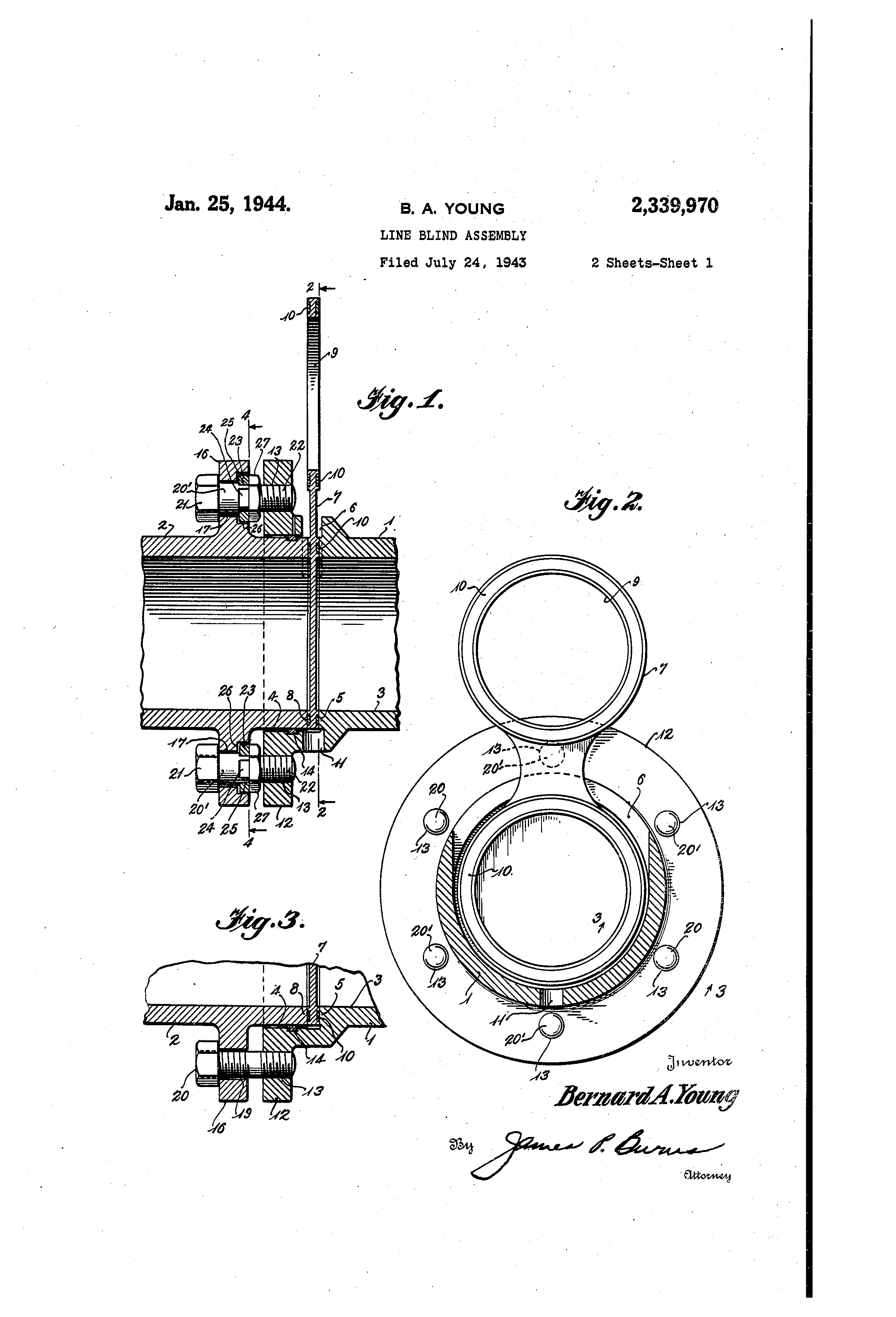 patent us2339970 - line blind assembly