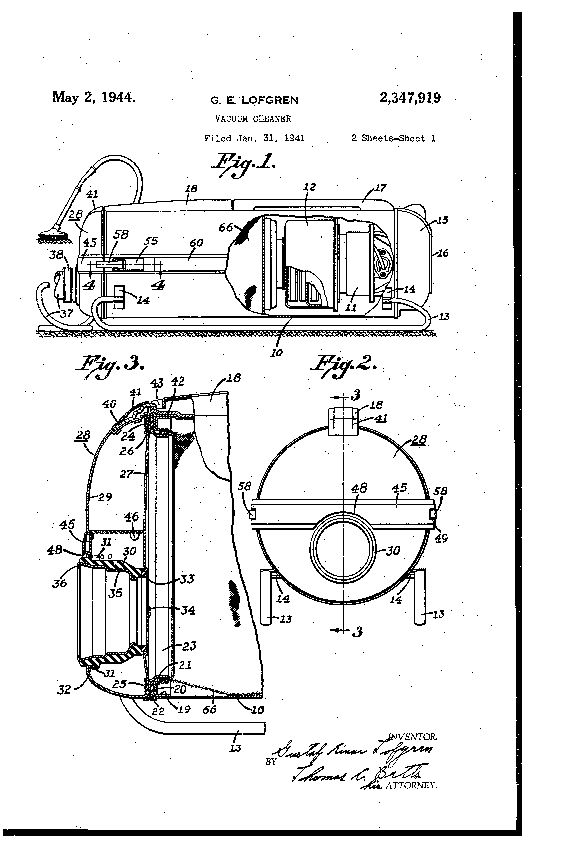 Cutaway Diagram Vacuum Cleaners Schematic Diagrams Kirby G6 Wiring Patent Us2347919 Cleaner Google Patents Sabre Saw