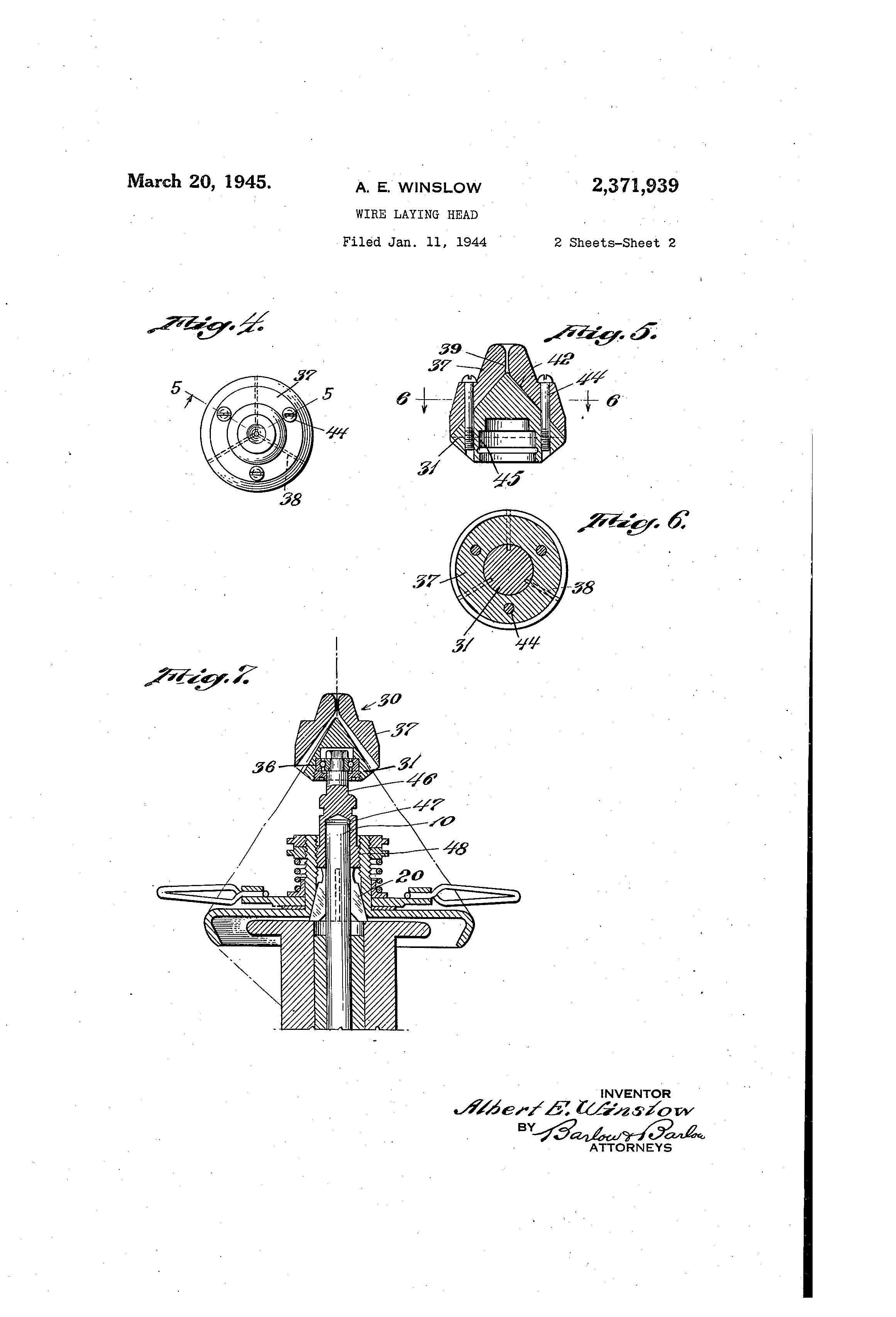Patent US2371939 - Wire laying head - Google Patents