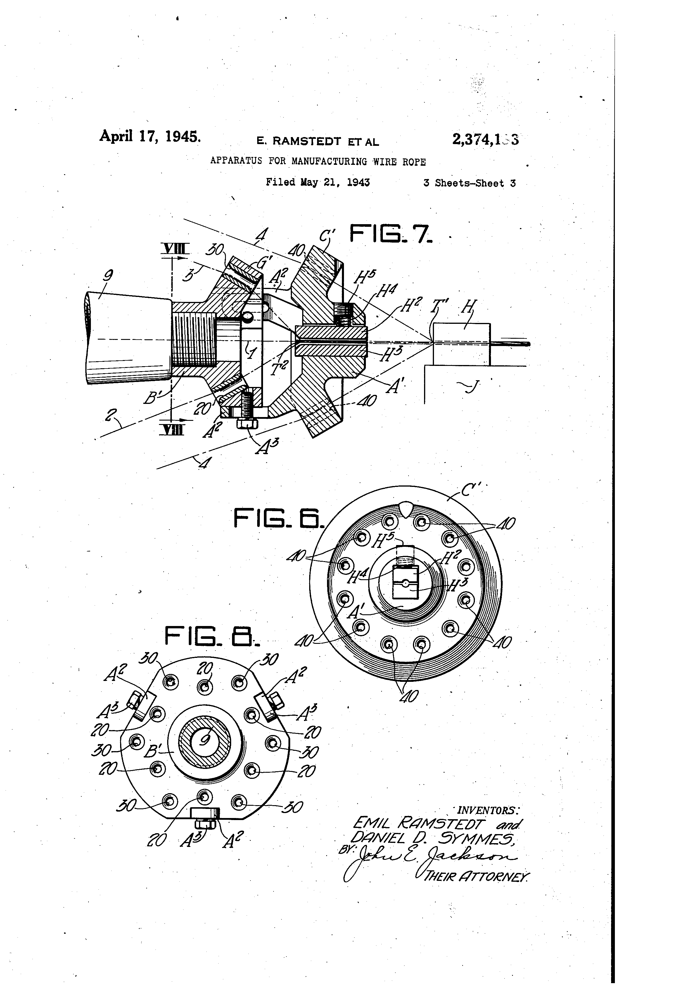 Patent US2374133 - Apparatus for manufacturing wire rope - Google ...