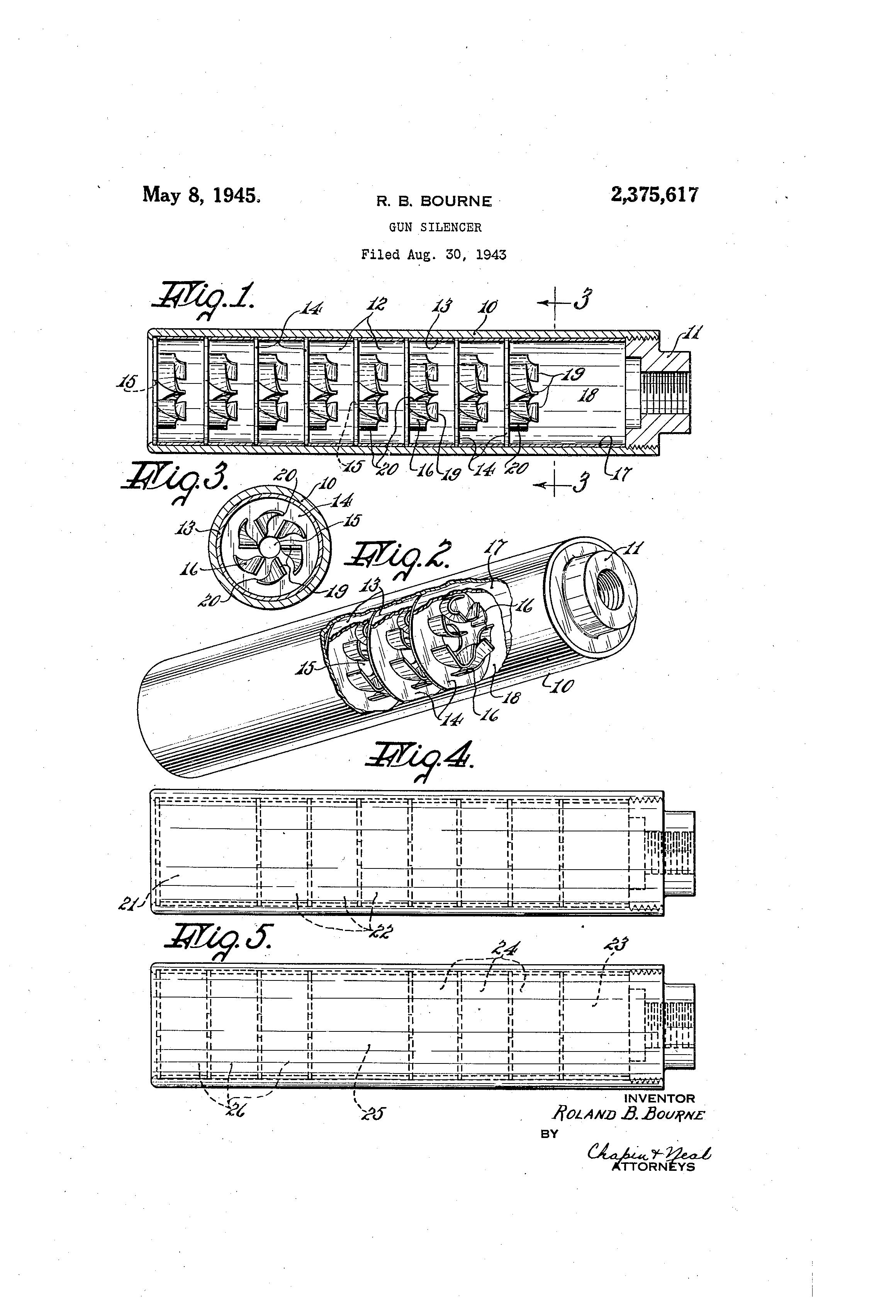 patent us2375617 - gun silencer