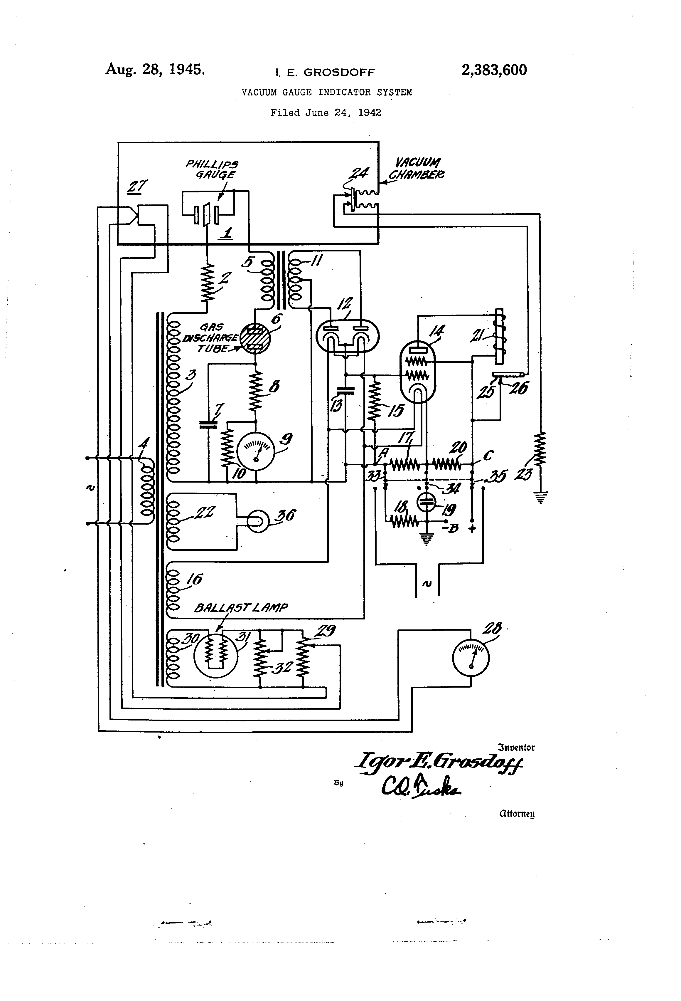 Patent Us2383600 Vacuum Gauge Indicator System Google Patents 1950 Gas Stove Wiring Diagram Drawing