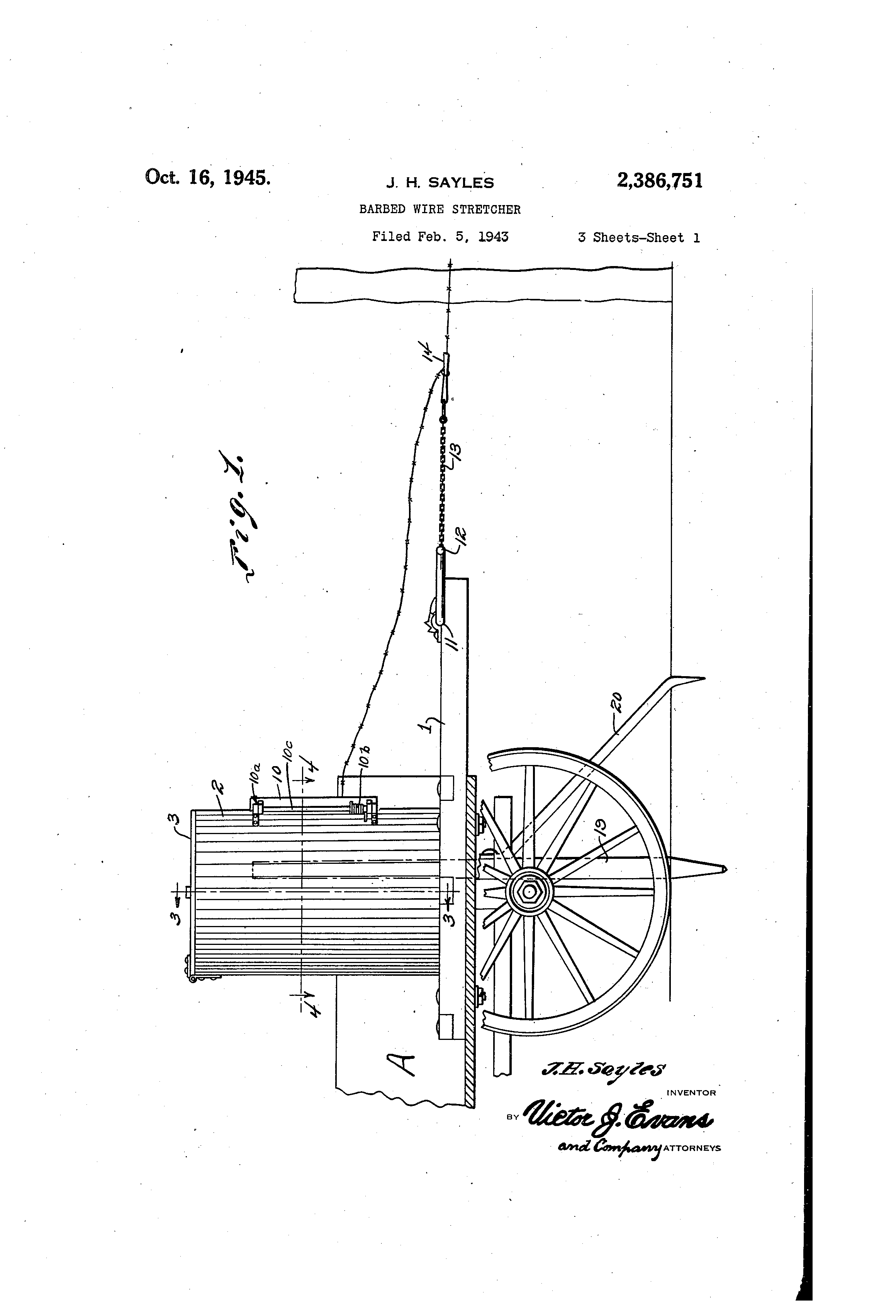 patent us2386751 - barbed-wire stretcher