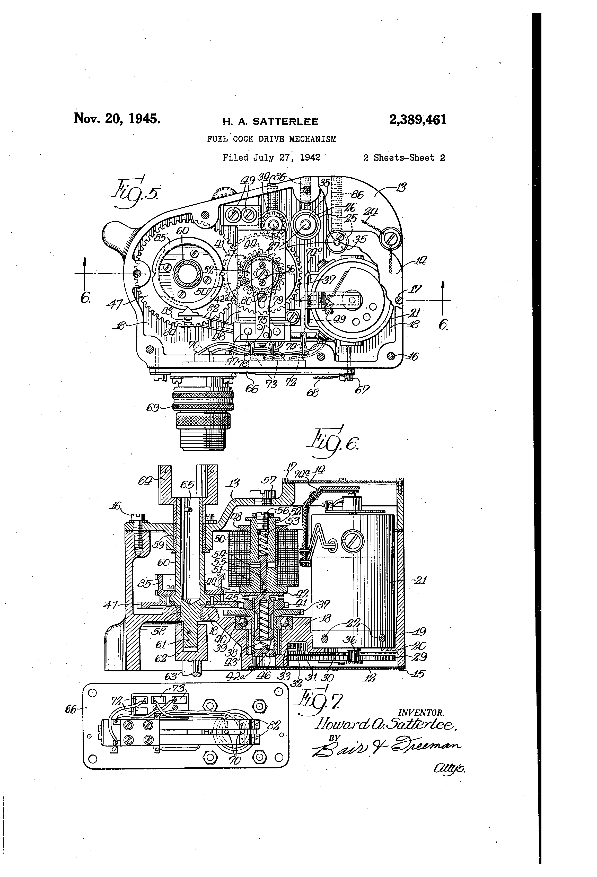 Patent Us2389461 Fuel Cock Drive Mechanism Google Patents Pam1 Relay Wiring Diagram Drawing
