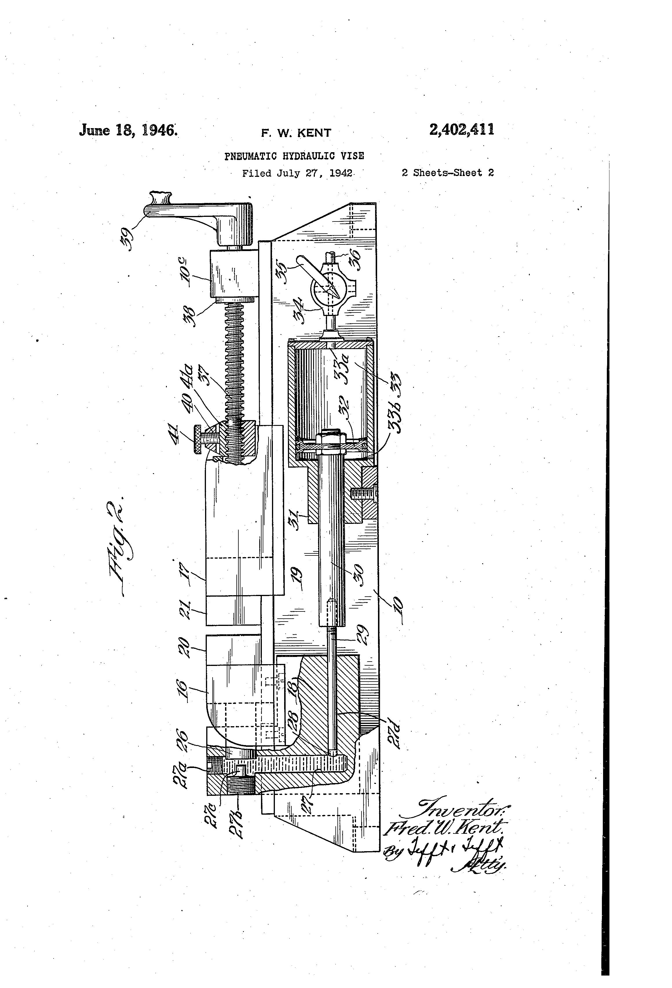 Patent Us2402411 Pneumatic Hydraulic Vise Google Patents Wilton Parts Diagram Drawing