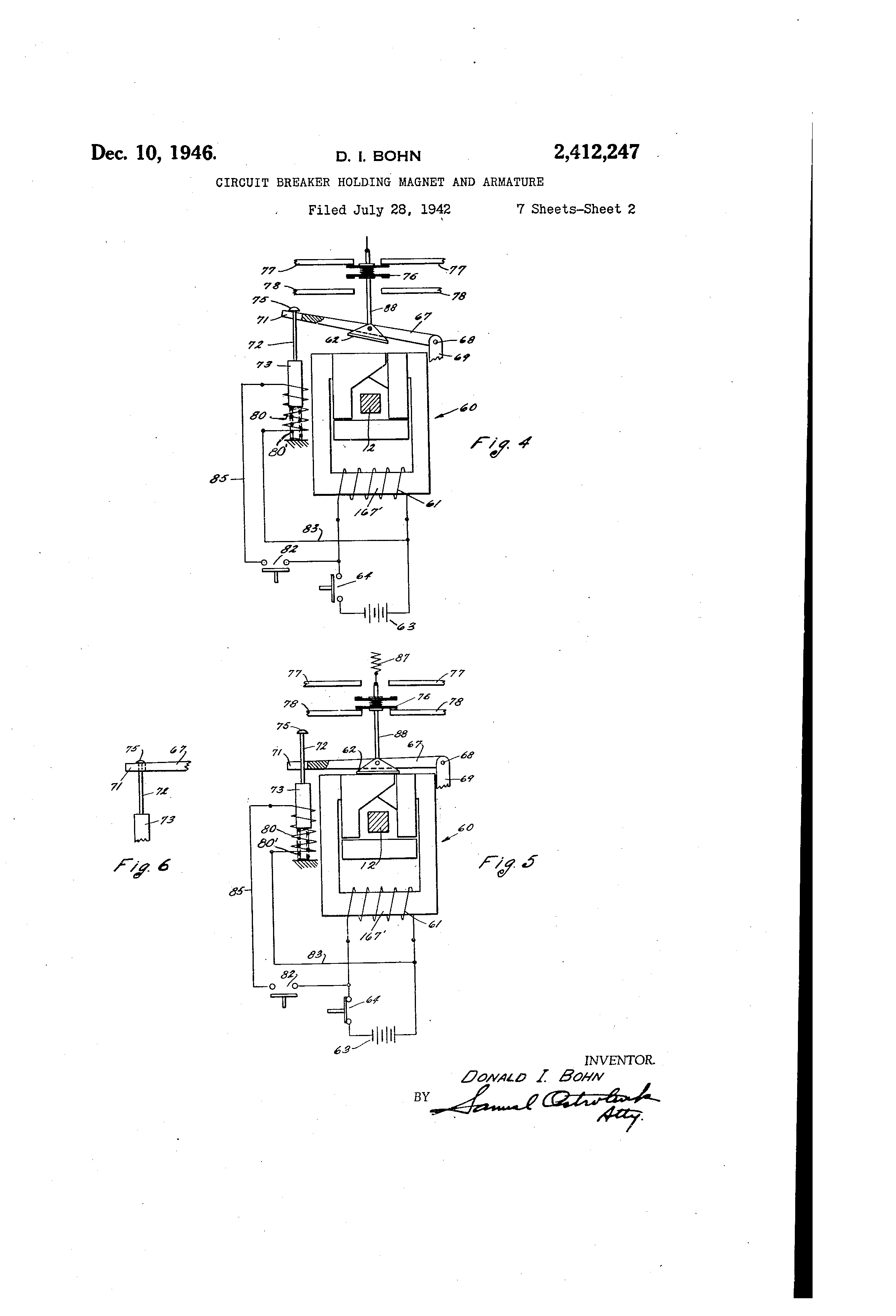 Patent Us2412247 Circuit Breaker Holding Magnet And Armature Diagram Furthermore Mag Ic On Drawing