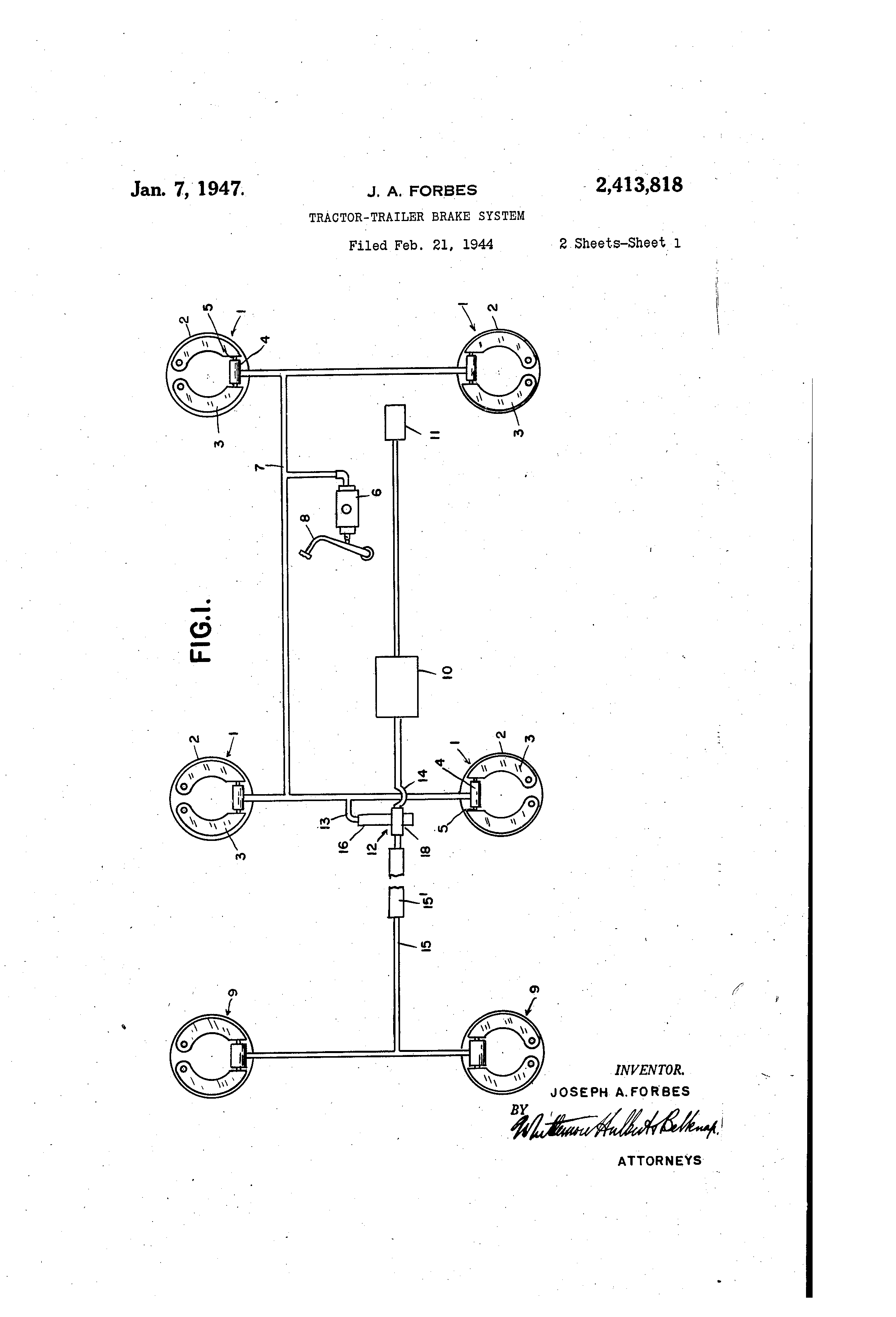 patent us2413818 - tractor-trailer brake system