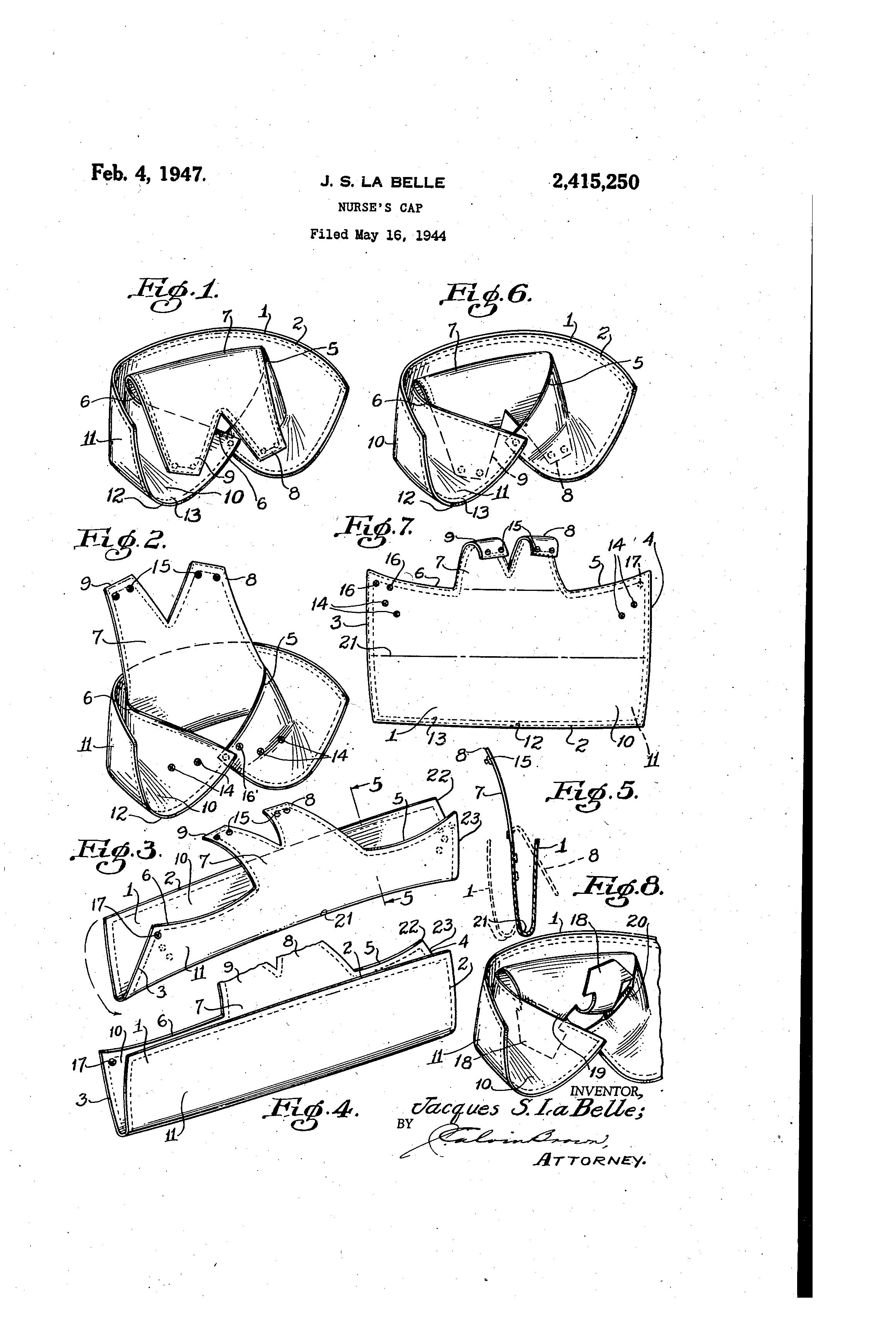patent us2415250 nurse s cap google patents