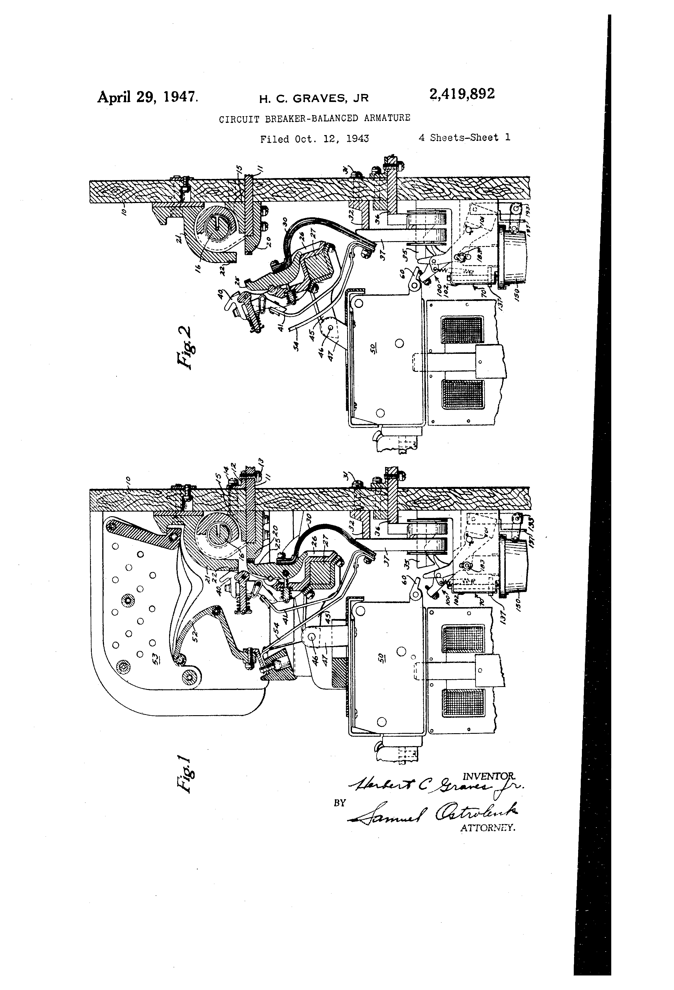Patent Us2419892 Circuit Breaker Balanced Armature Google Patents Replacement Parts Lift Breakers Time Delay Drawing