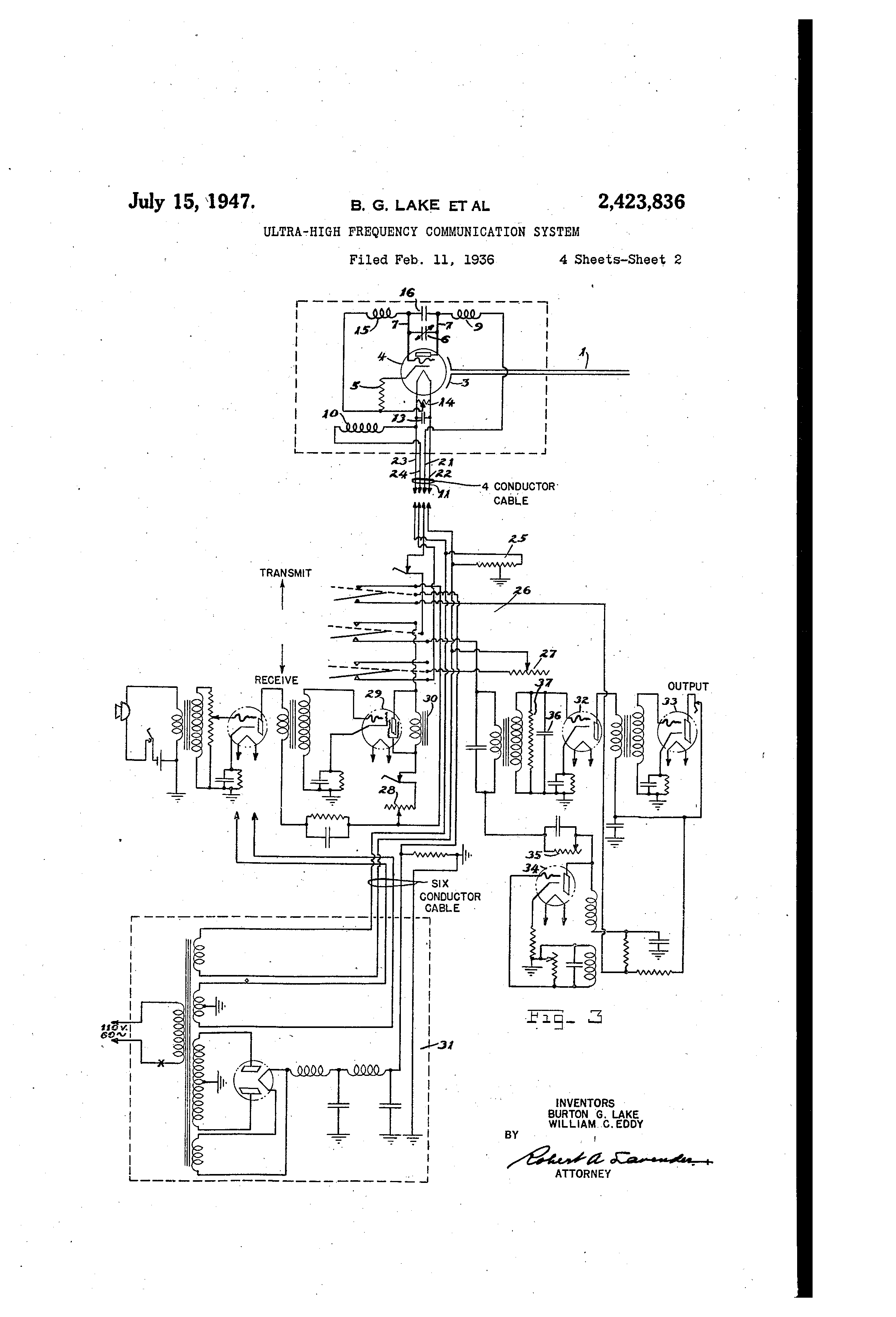 patent us2423836 - ultra high frequency communication system