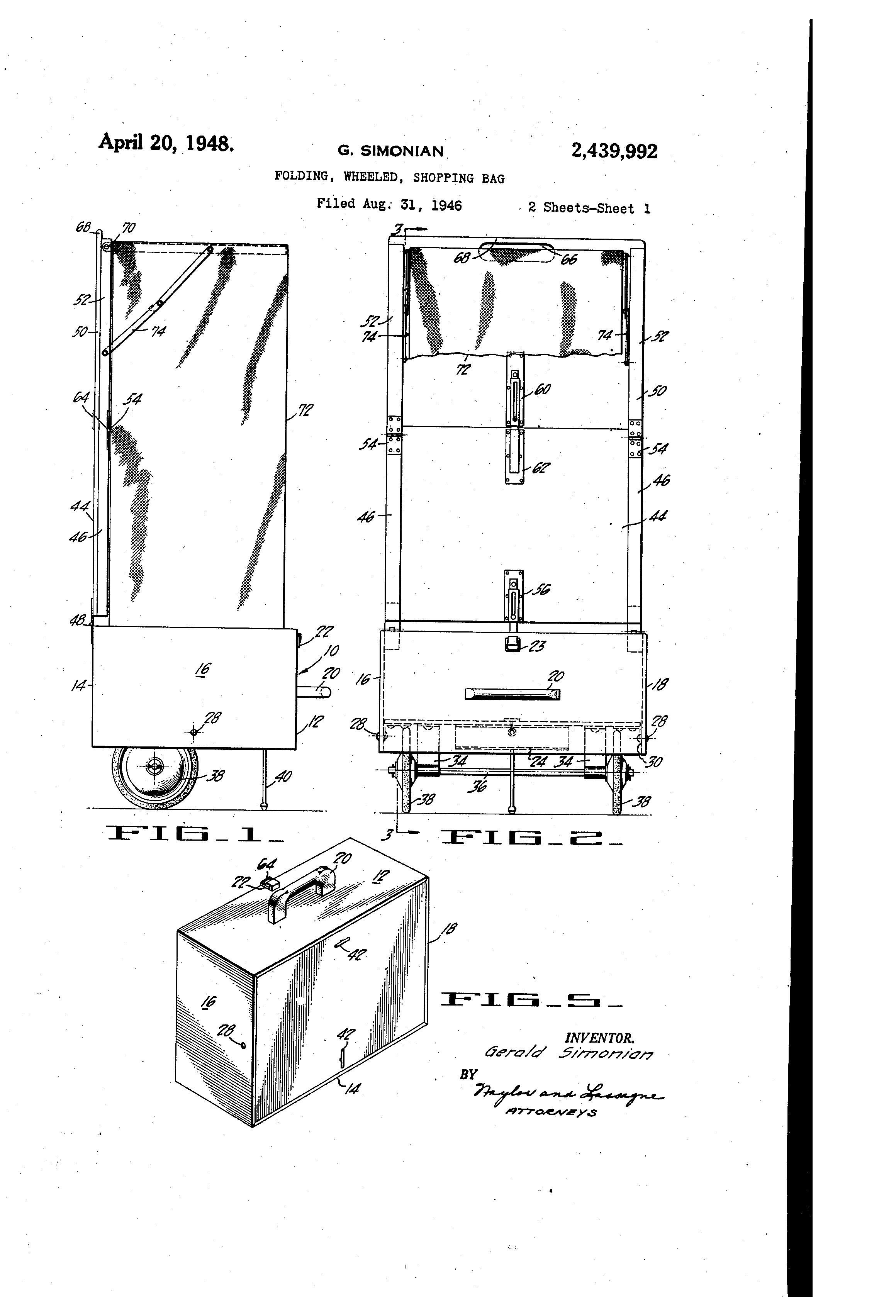 patente us2439992 folding wheeled shopping bag google patentes