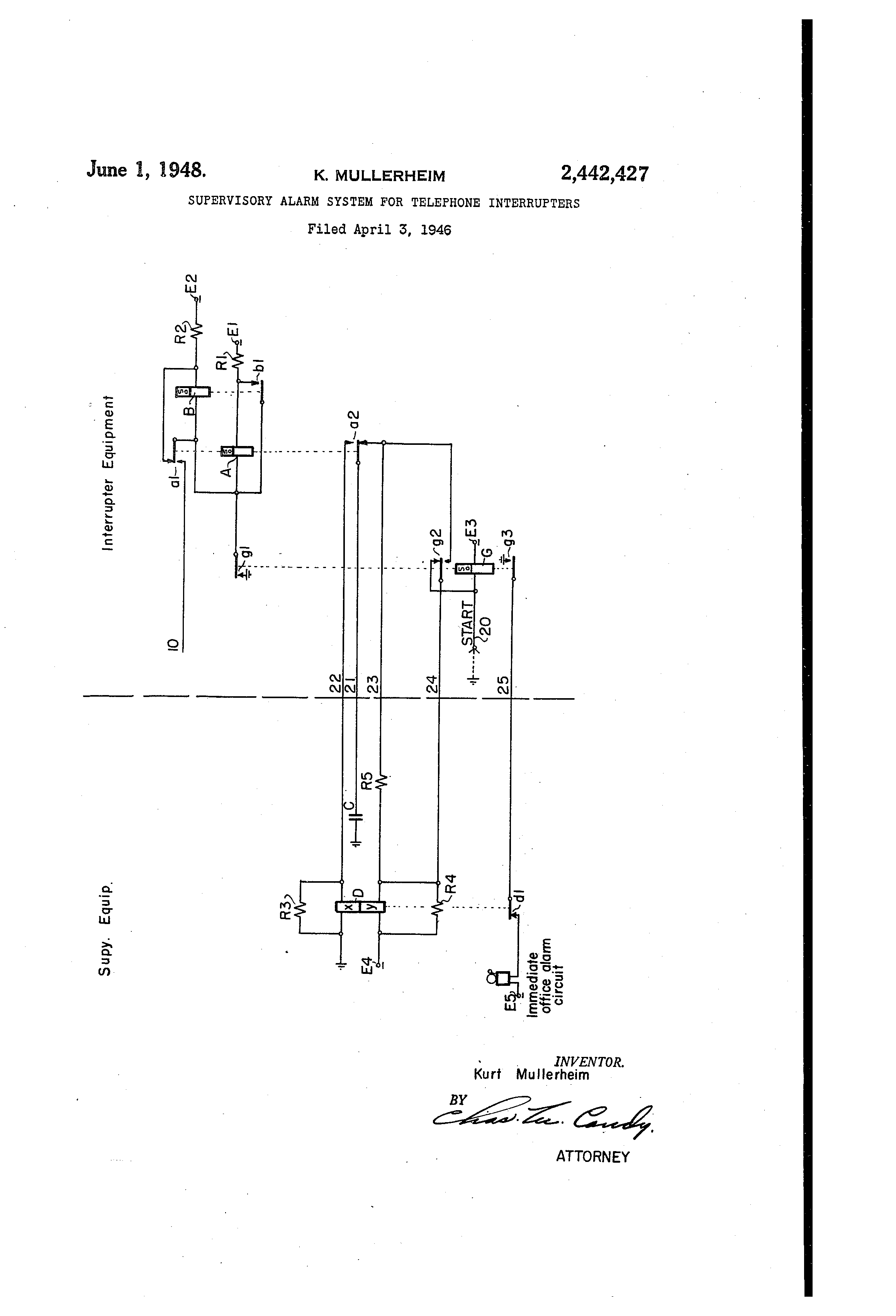 Patent Us2442427 Supervisory Alarm System For Telephone Photointerruptercircuitpng Drawing