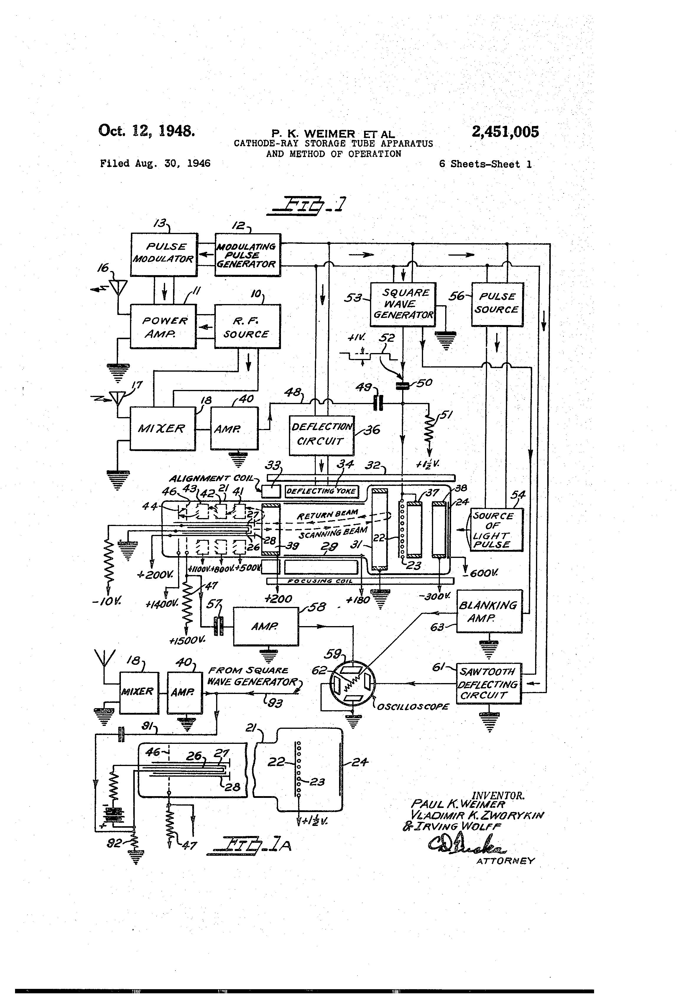 Patent Us2451005 Cathode Ray Storage Tube Apparatus And Method Of Diagram Drawing