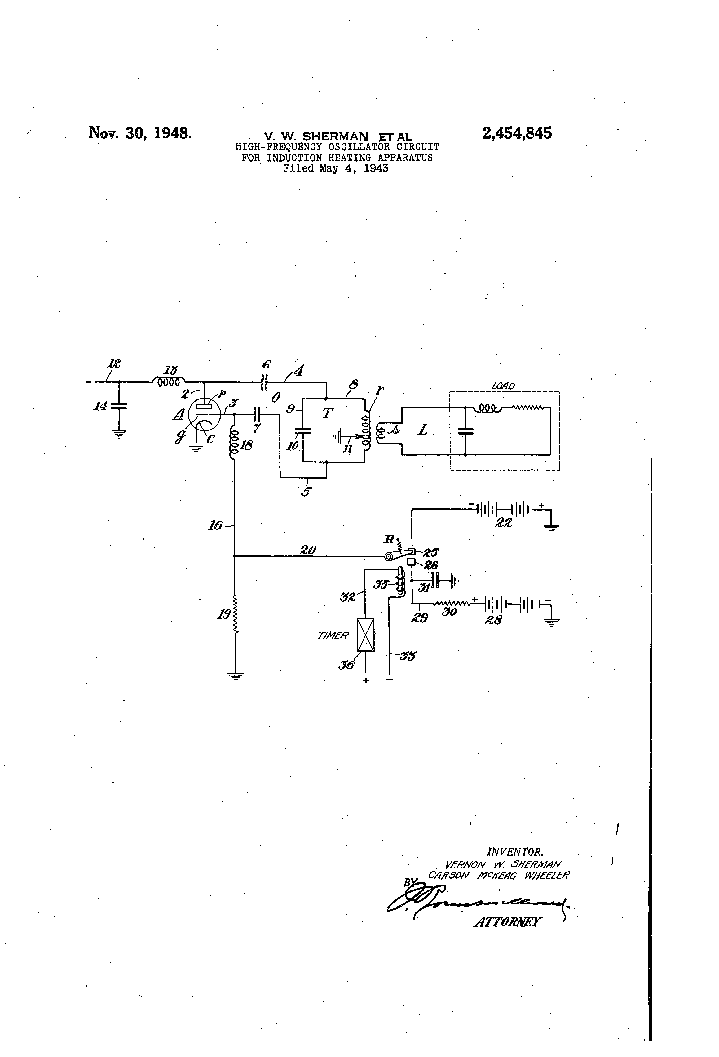 Patent Us2454845 High Frequency Oscillator Circuit For Induction Heater Circuits Drawing
