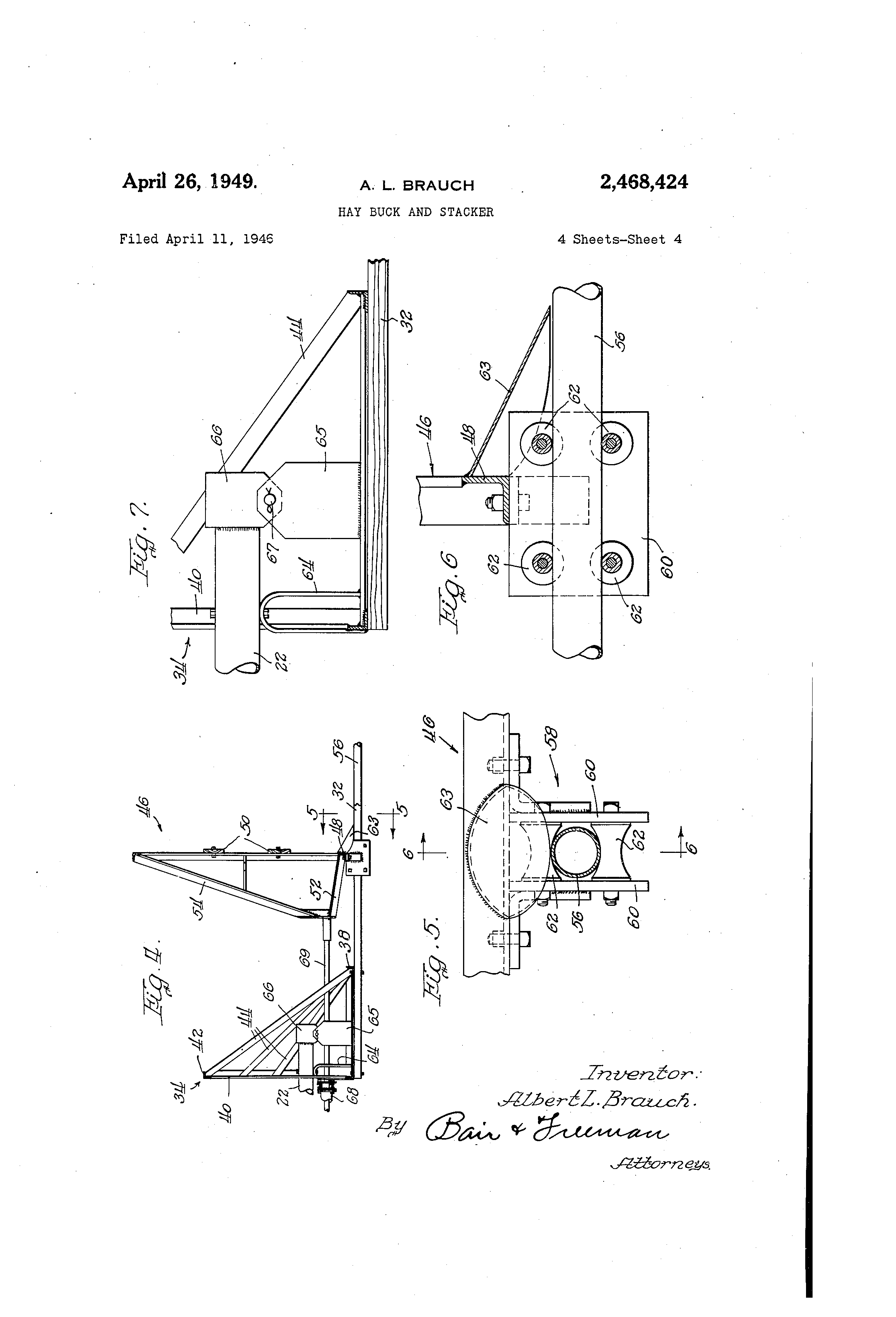 Patent Us2468424 Hay Buck And Stacker Google Patents Control System For An On 424 International Tractor Hydraulics Diagram Drawing