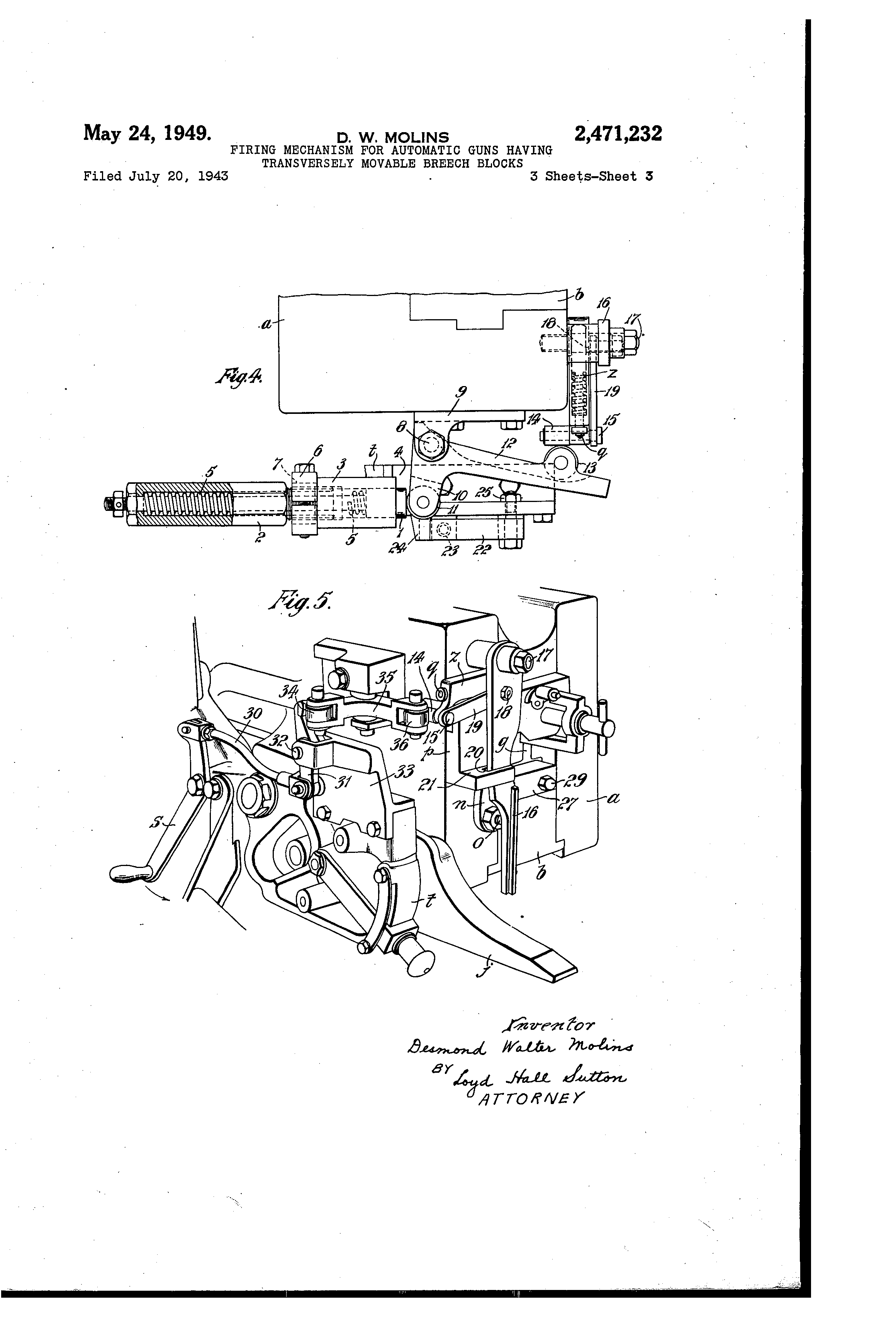 Firing Mechanisms For Guns : Patent us firing mechanism for automatic guns