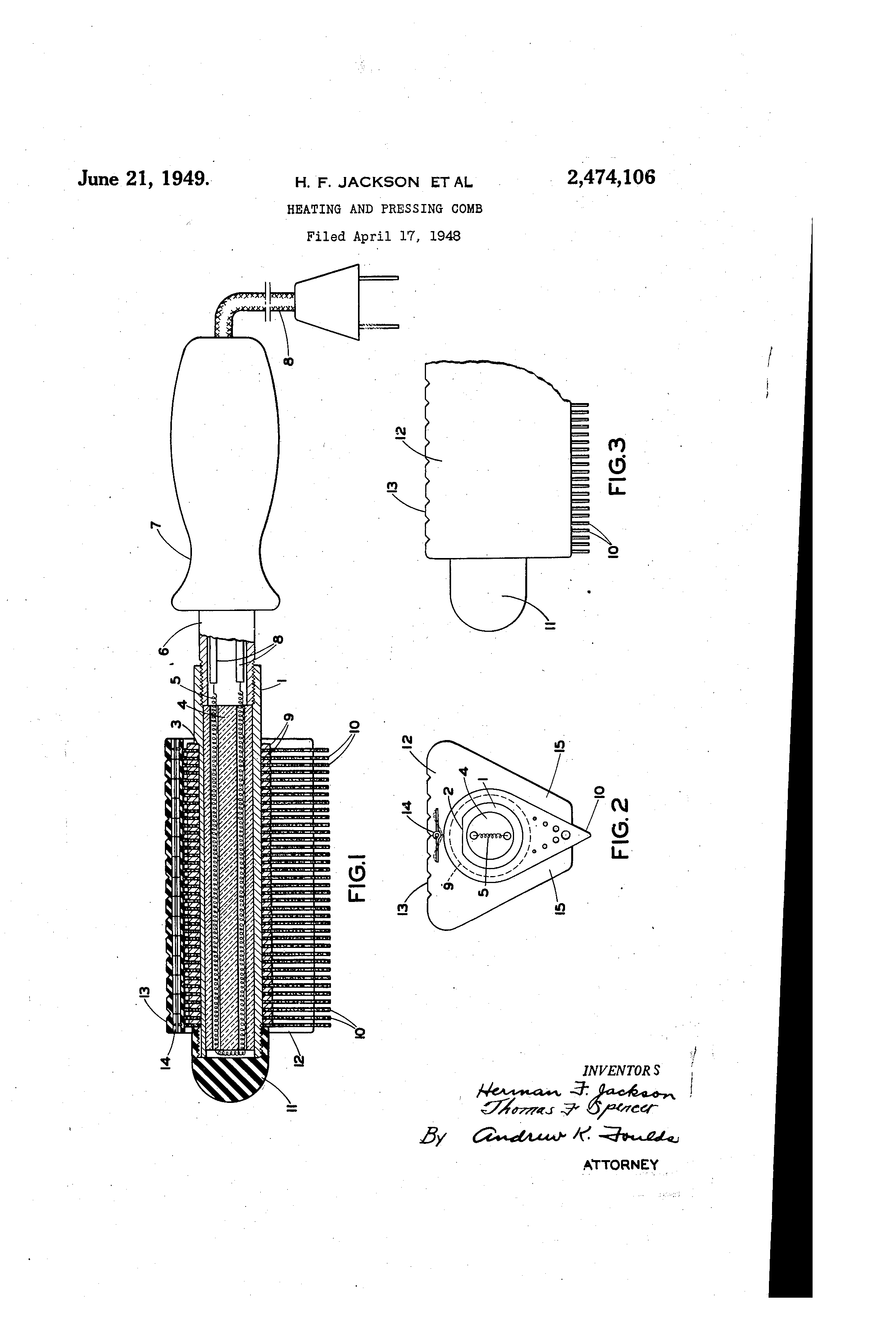 Patent Us2474106 Heating And Pressing Comb Google Patents