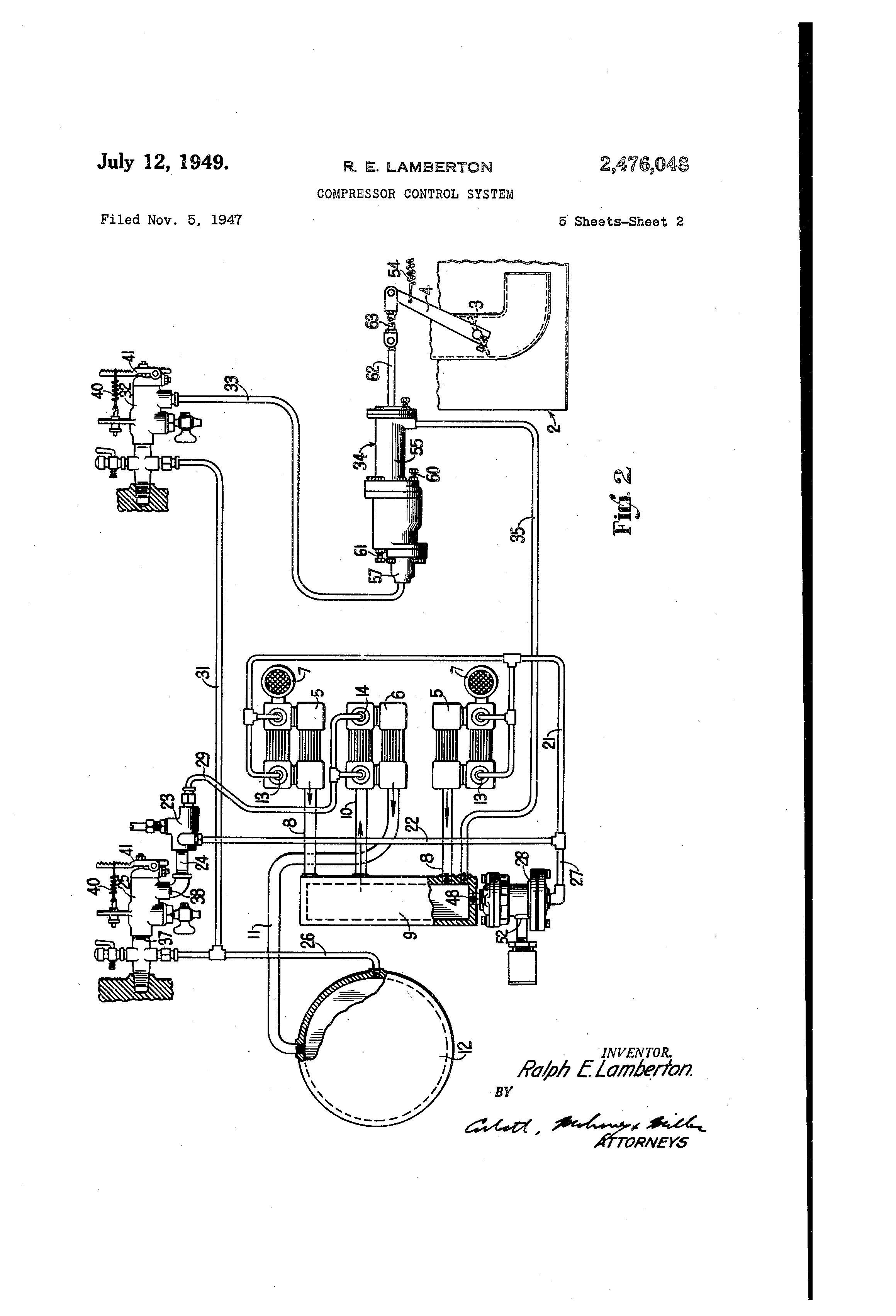 patent us2476048 compressor control system google patents