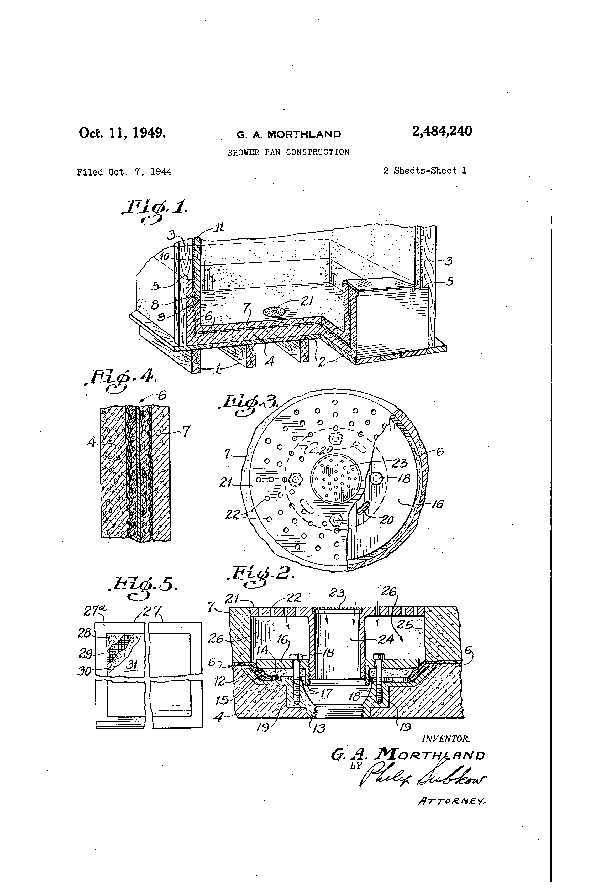 patent us2484240 shower pan construction patents Parts of Shower Pan patent drawing