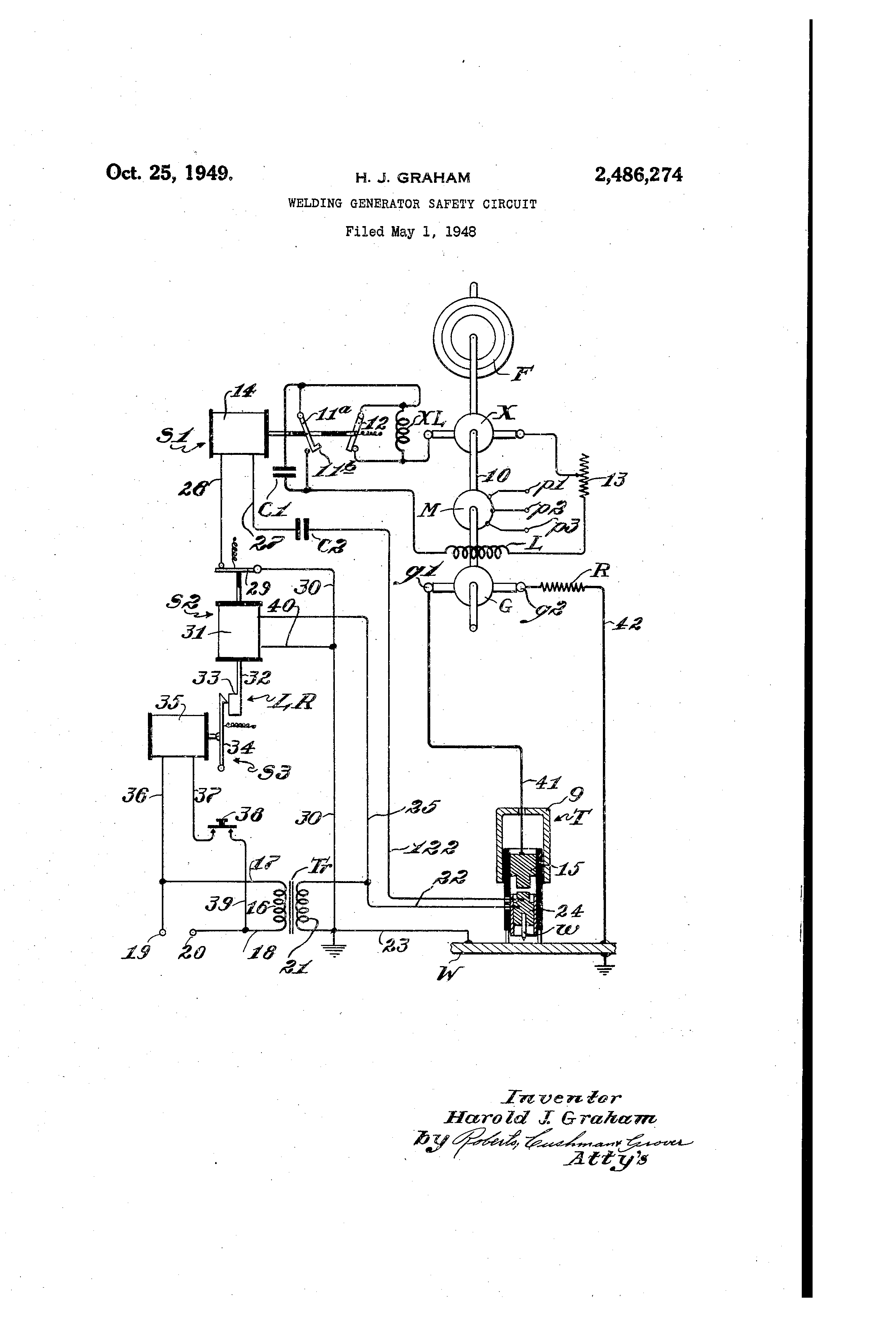Patent Us2486274 Welding Generator Safety Circuit Google Patents Diagram Drawing