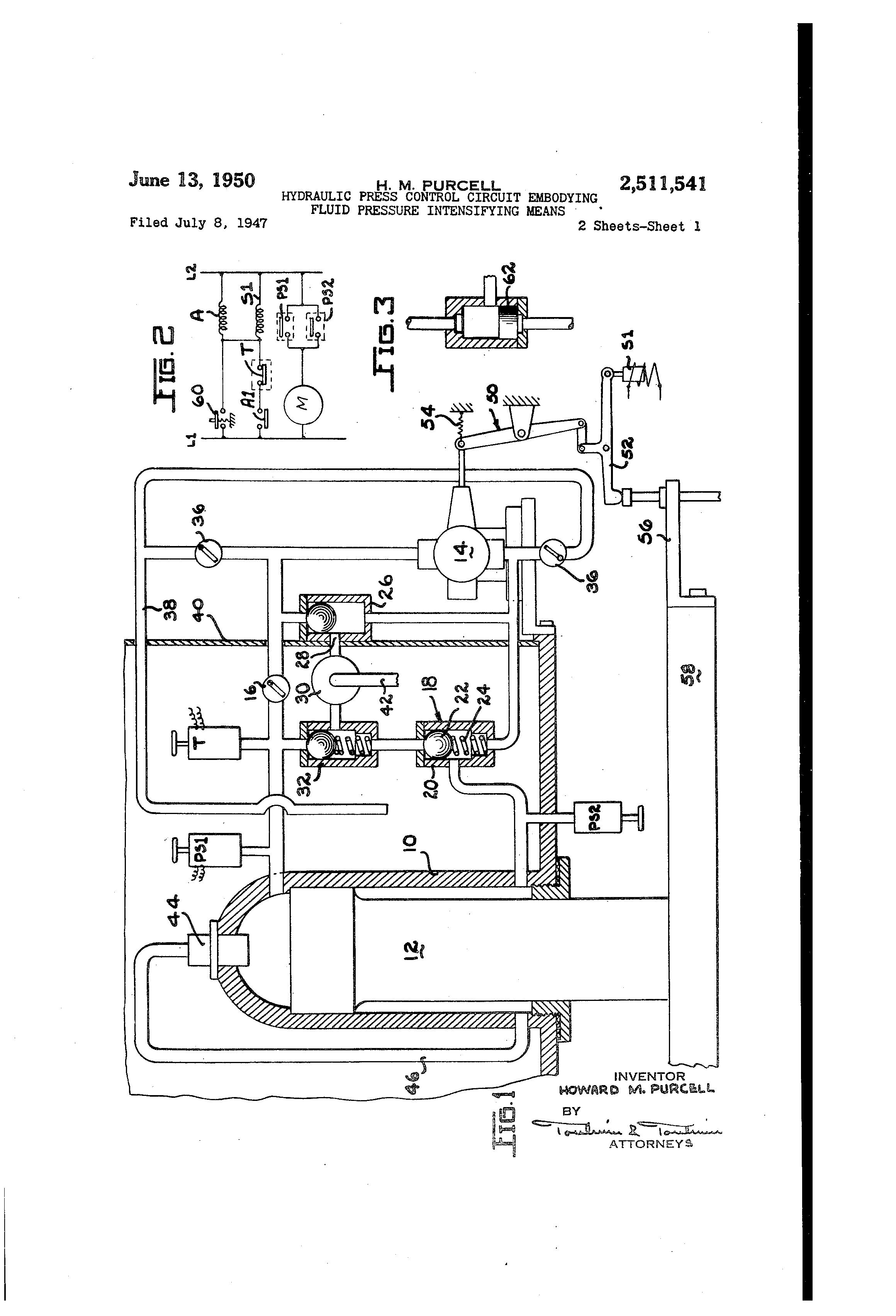 Press Control Circuit Wiring Diagram And Ebooks Rainsensor Sensorcircuit Seekiccom Patent Us2511541 Hydraulic Embodying Fluid Rh Google Com Pg Start Stop Motor