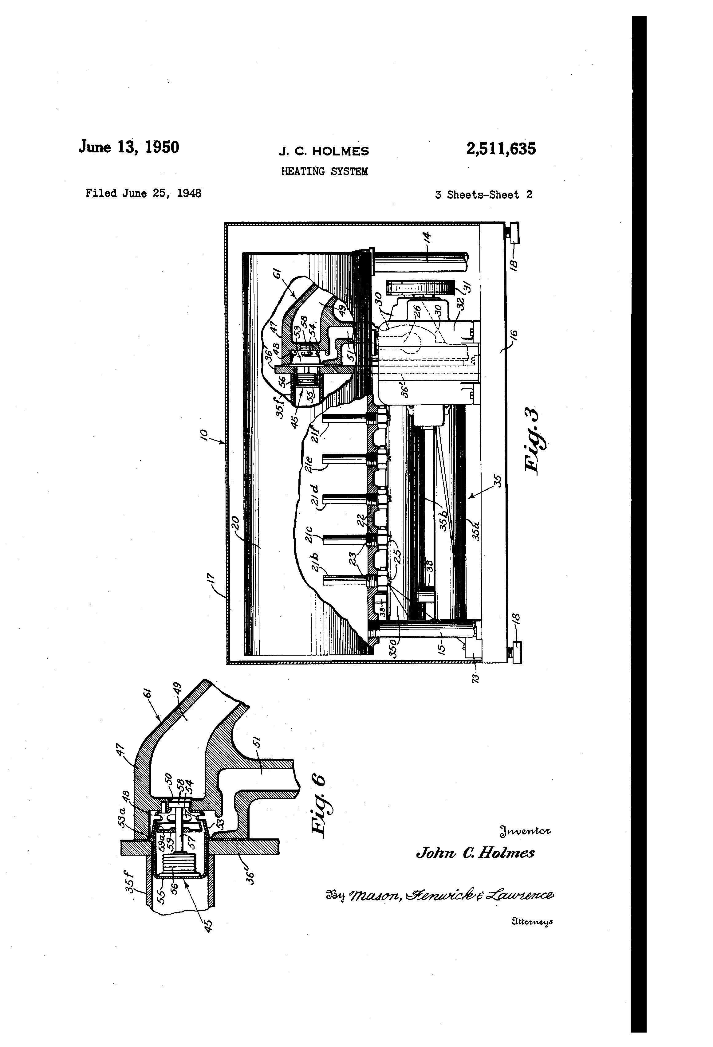 Patent US2511635 - Heating system - Google Patents