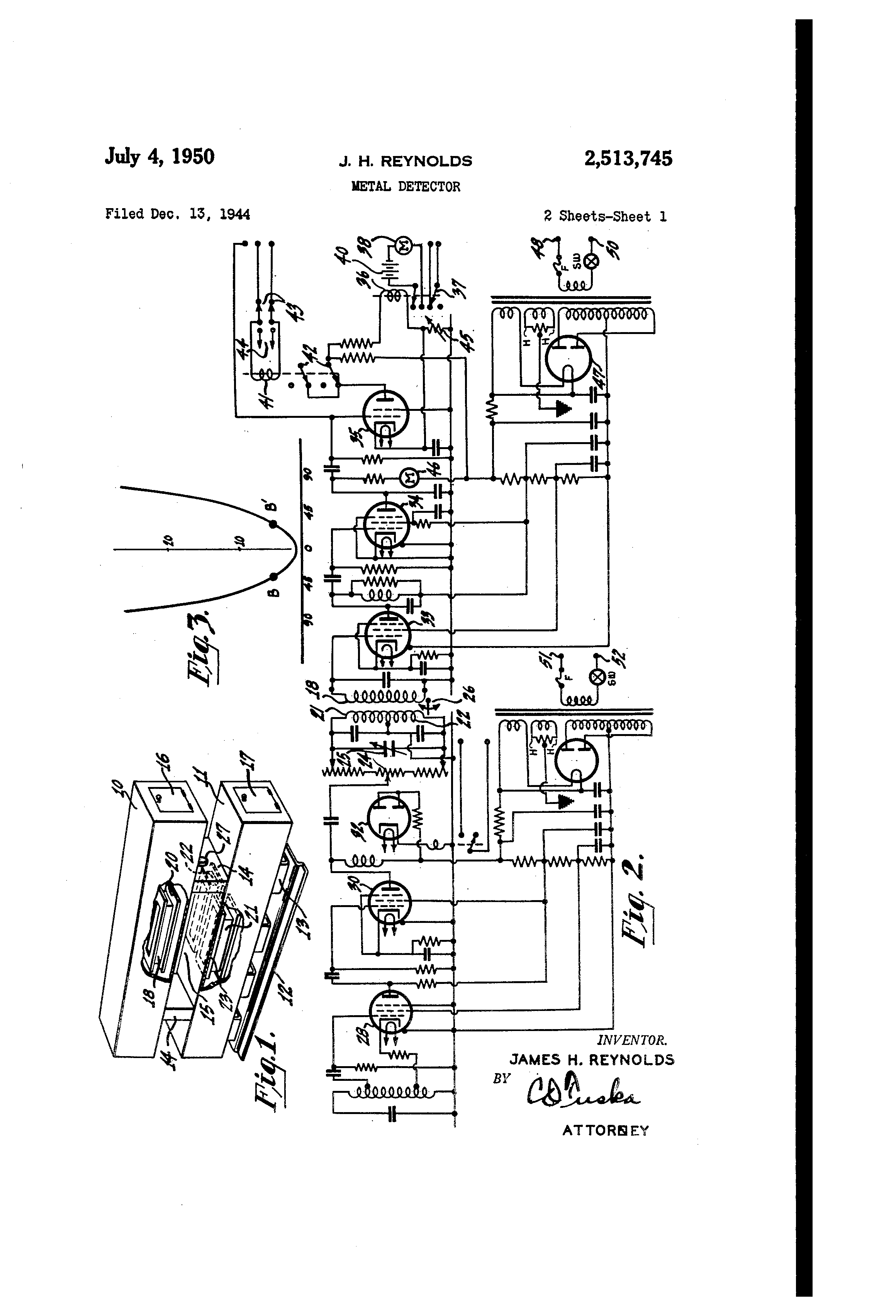Patent Us2513745 Metal Detector Google Patents Cheap Circuit Schematic Drawing